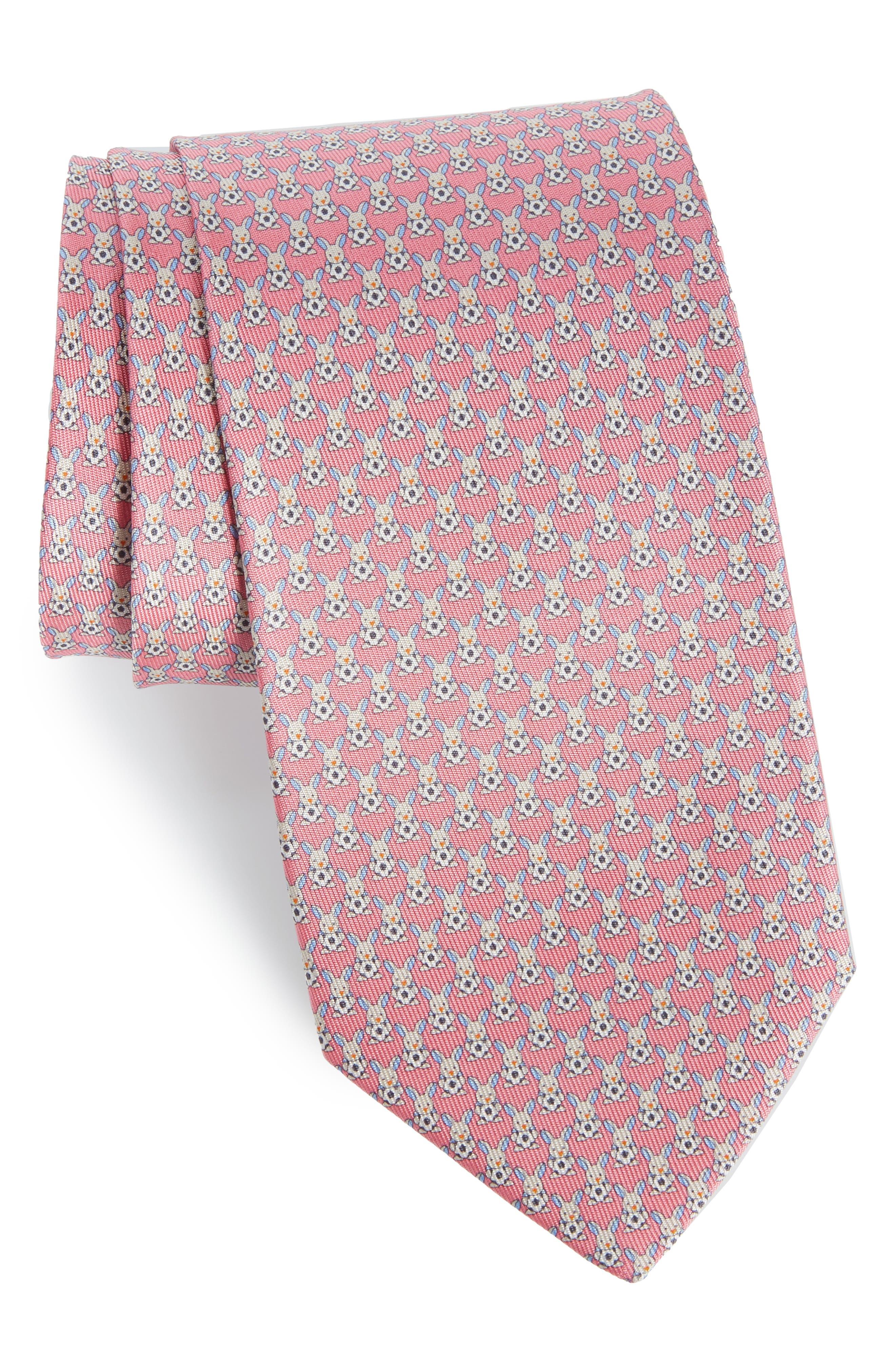 Errico Bunny Print Silk Tie,                             Main thumbnail 1, color,                             Pink