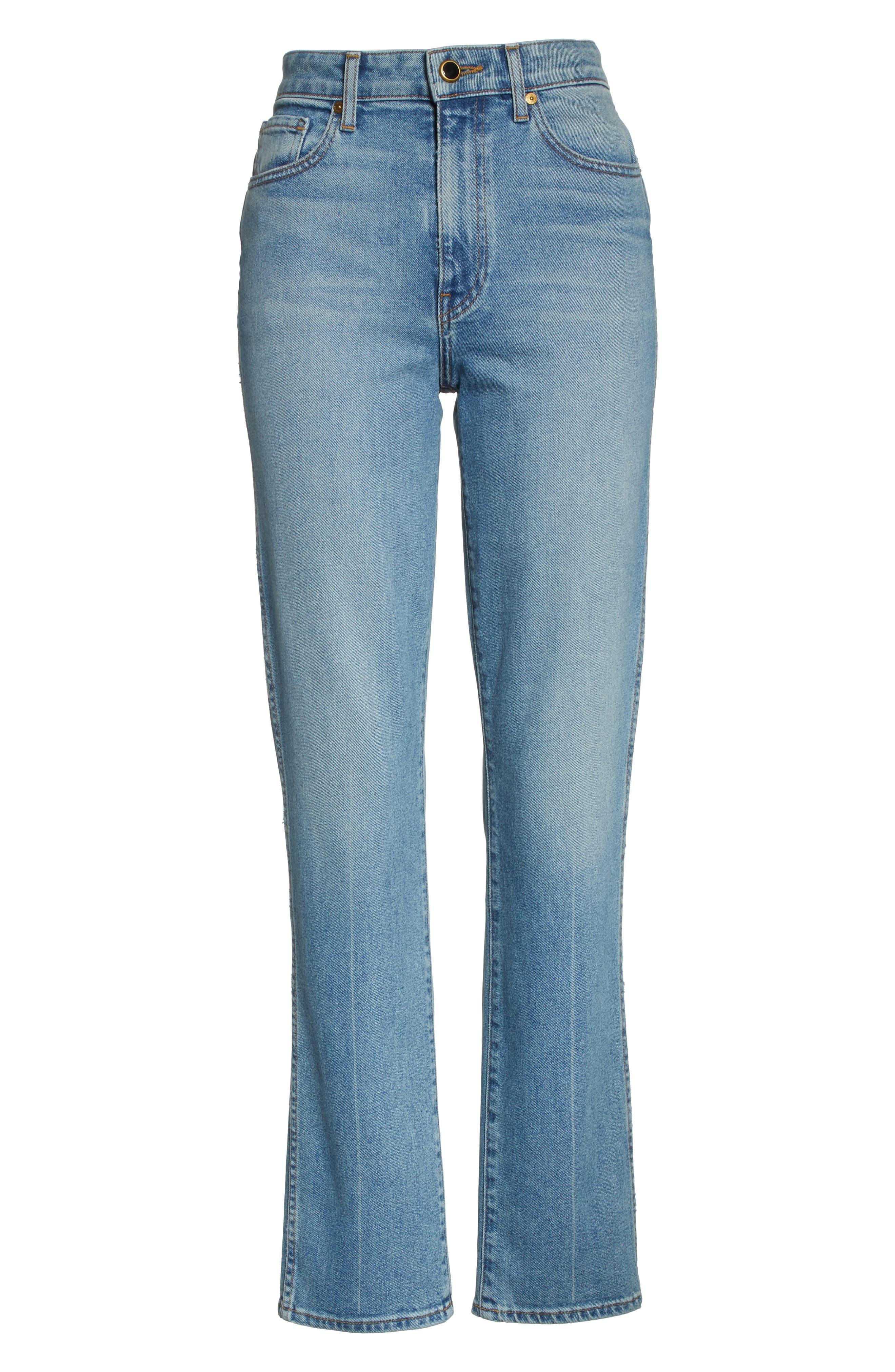 Victoria Straight Leg Jeans,                             Alternate thumbnail 7, color,                             Medium Crease