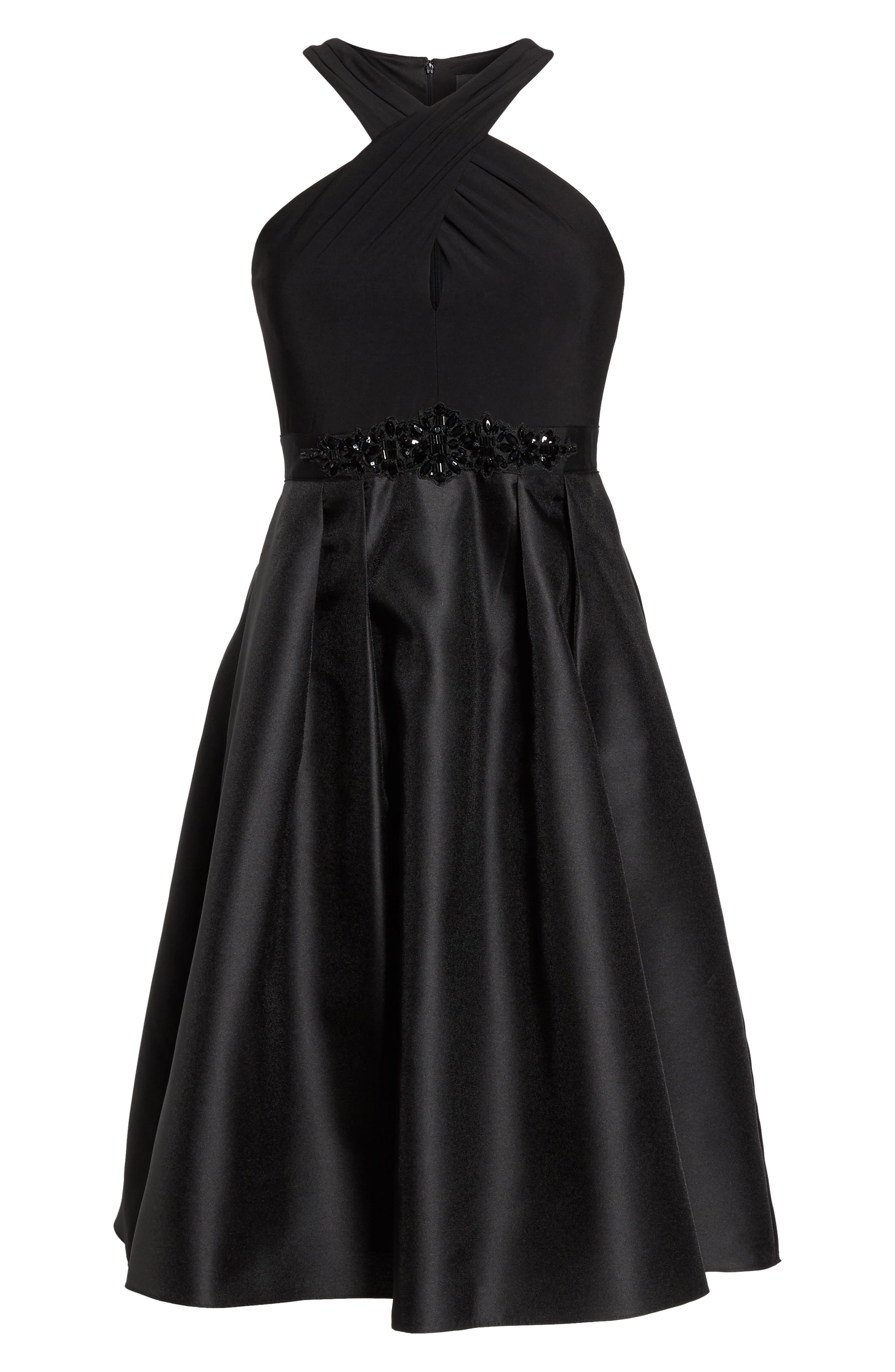 Embellished Jersey & Mikado Party Dress,                             Alternate thumbnail 6, color,                             Black