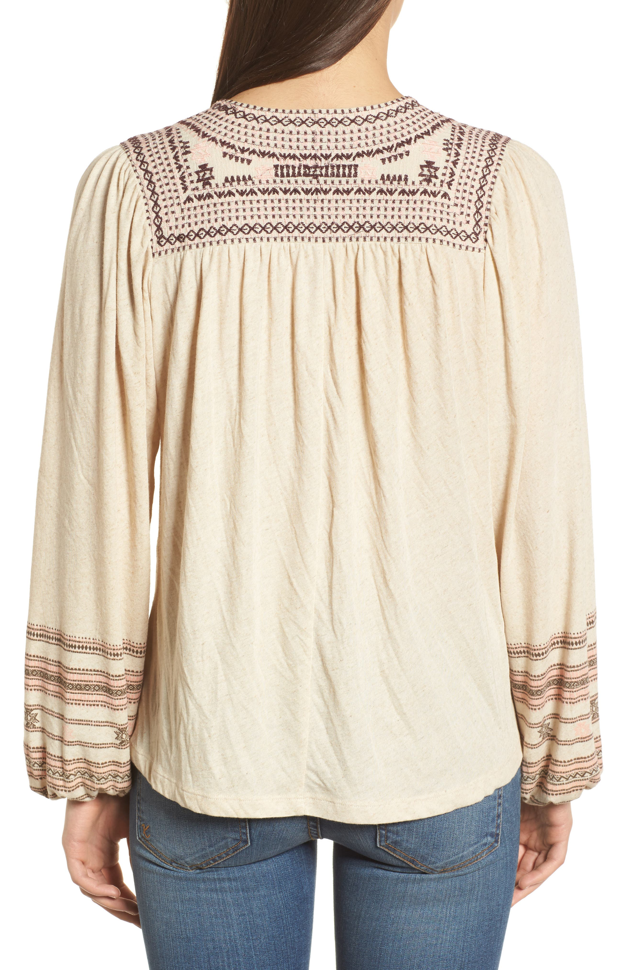 Market Embroidered Peasant Blouse,                             Alternate thumbnail 2, color,                             Natural