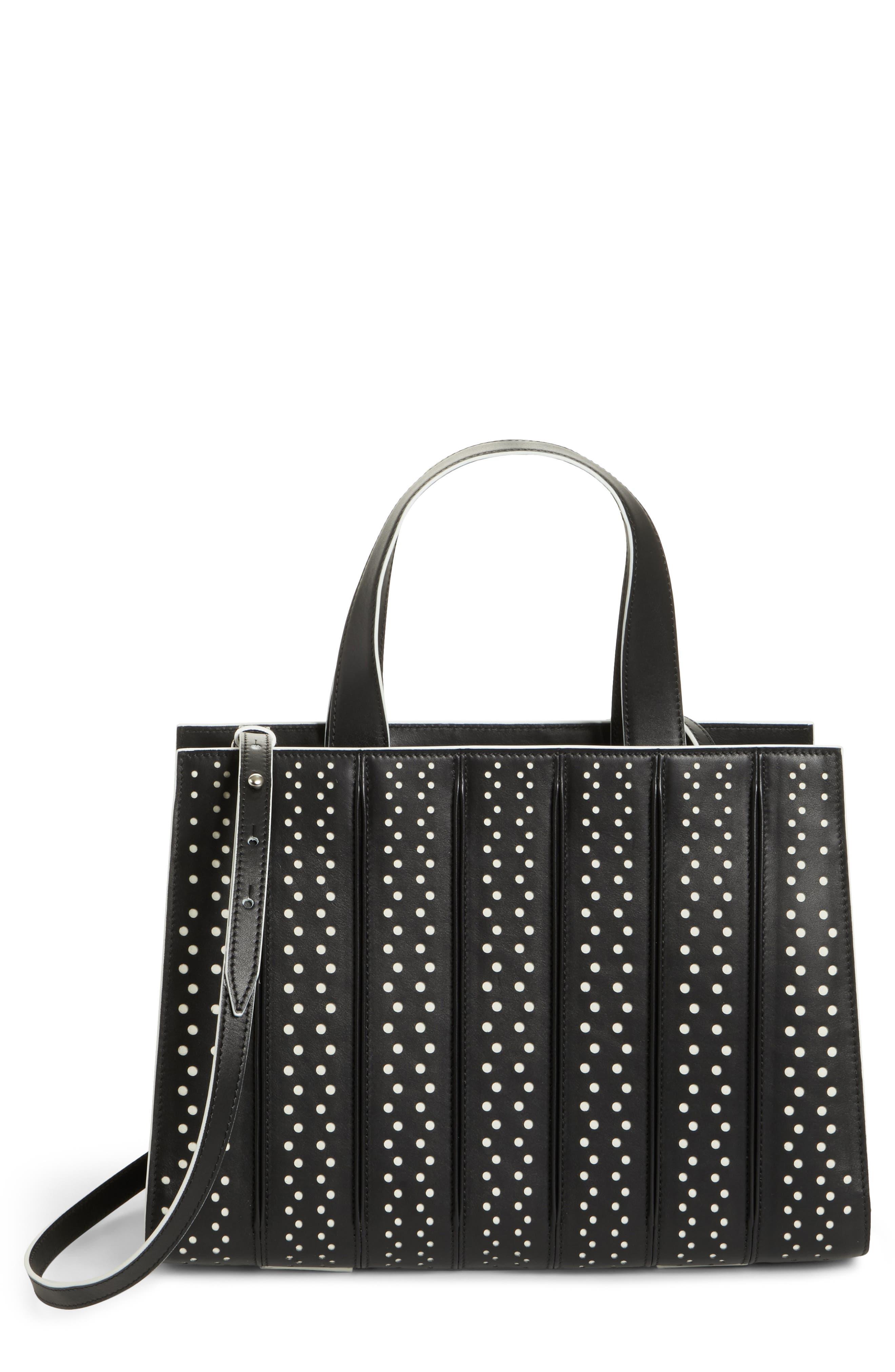 Medium Whitney Polka Dot Leather Tote,                         Main,                         color, Black/ White