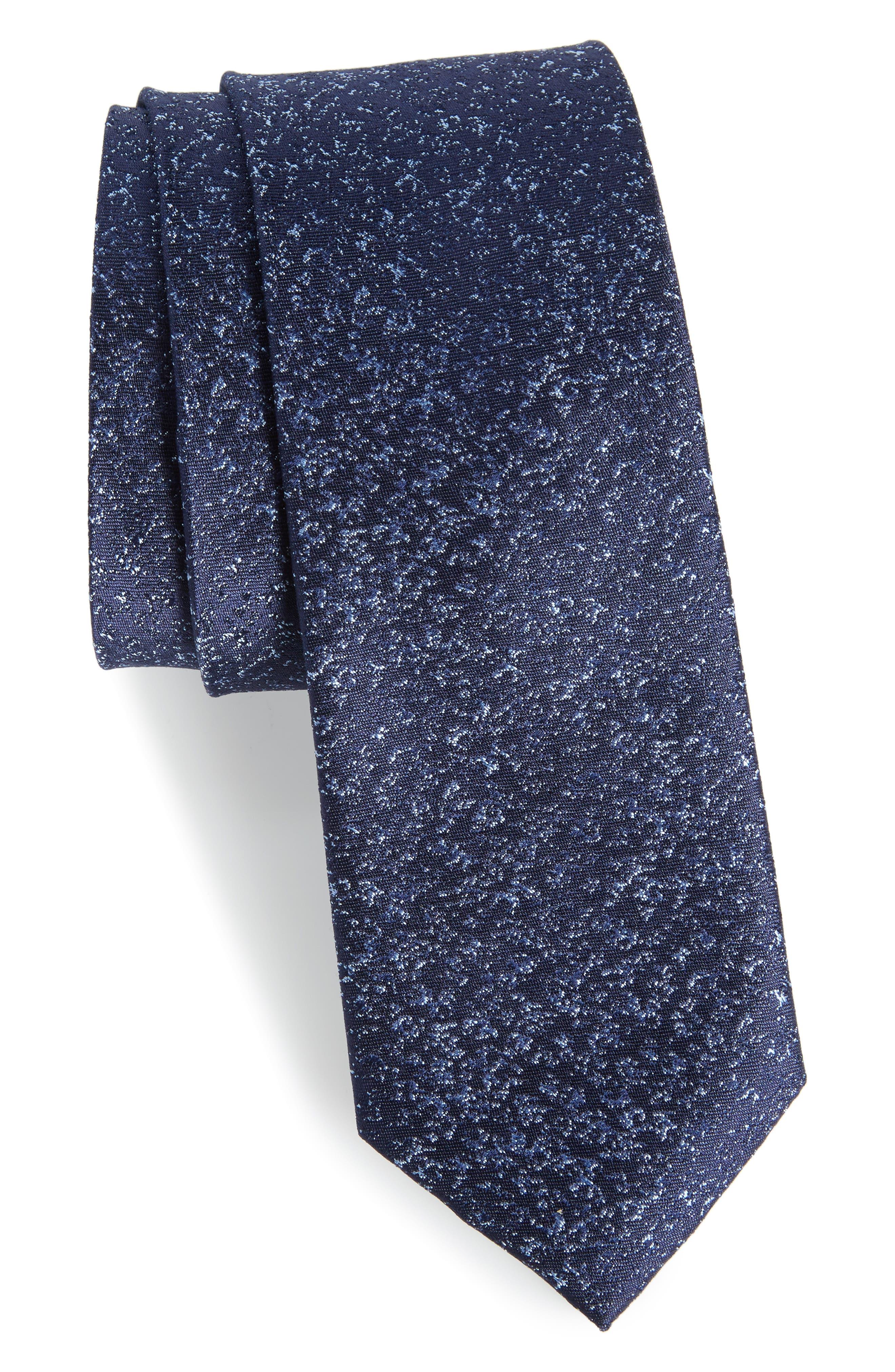 Rowland Abstract Silk Skinny Tie,                             Main thumbnail 1, color,                             Navy