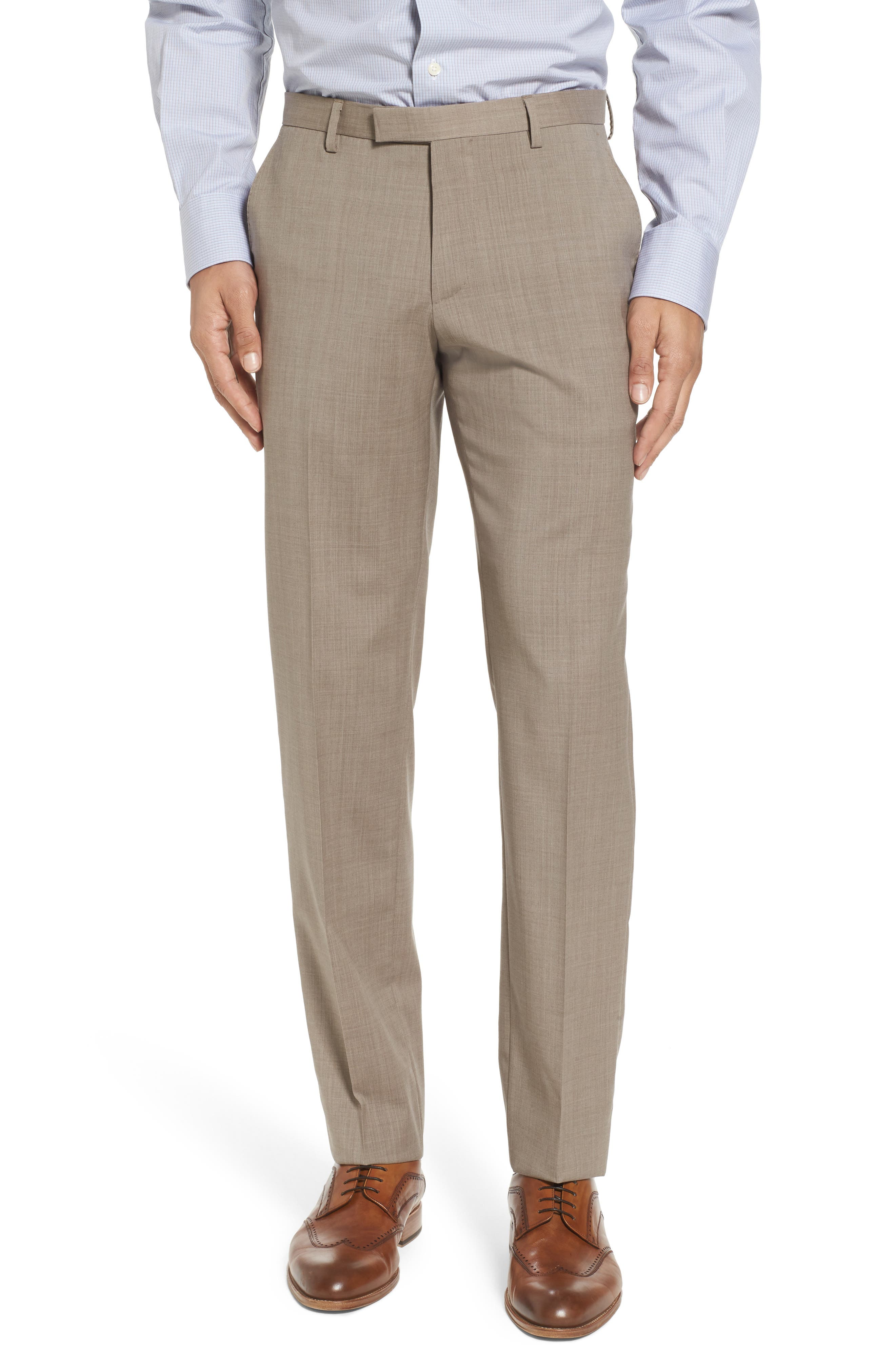 Johnstons/Lenon Classic Fit Solid Wool Suit,                             Alternate thumbnail 7, color,                             Medium Beige