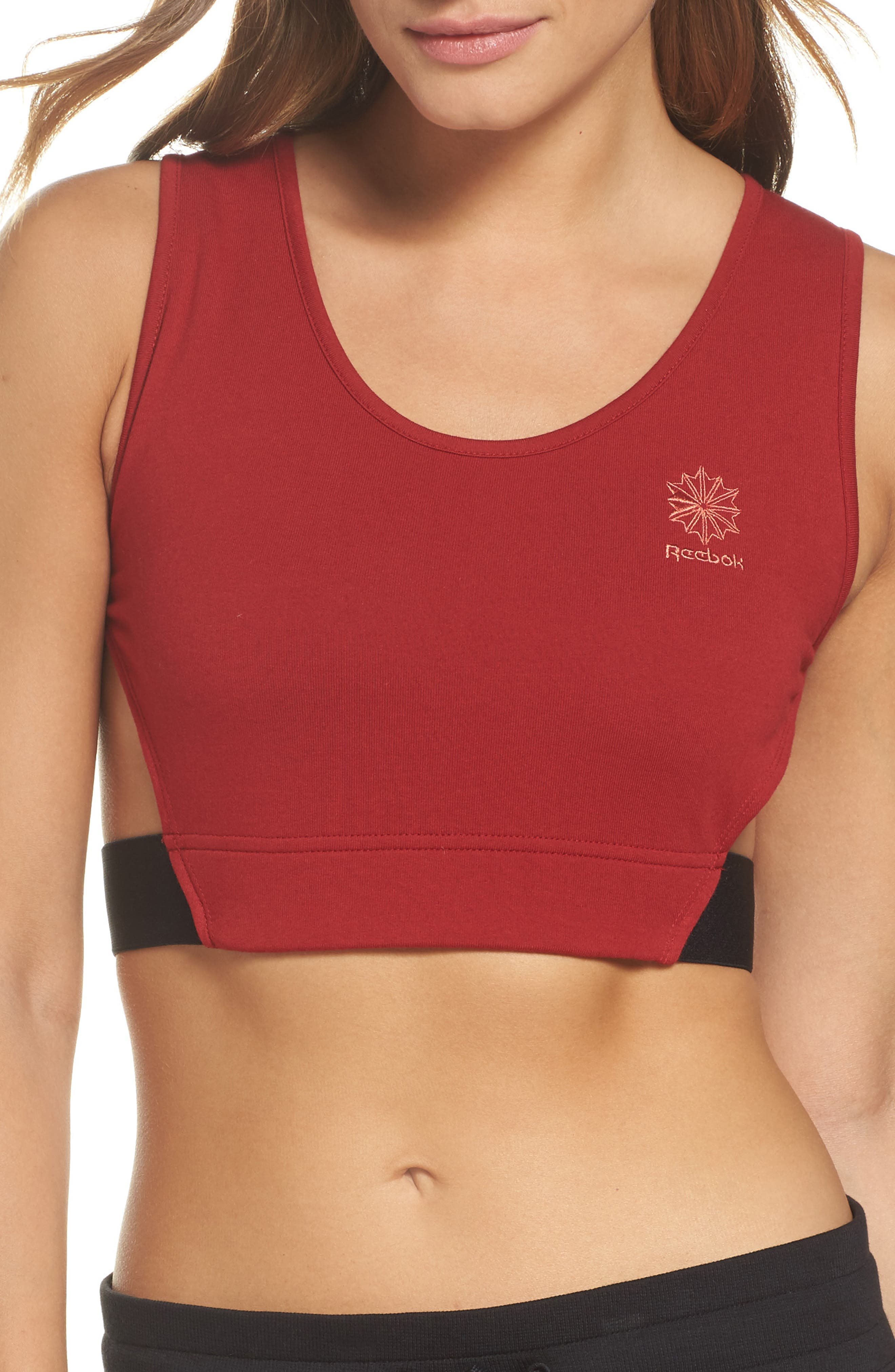 Elevated French Terry Sports Bra,                         Main,                         color, Rich Magma