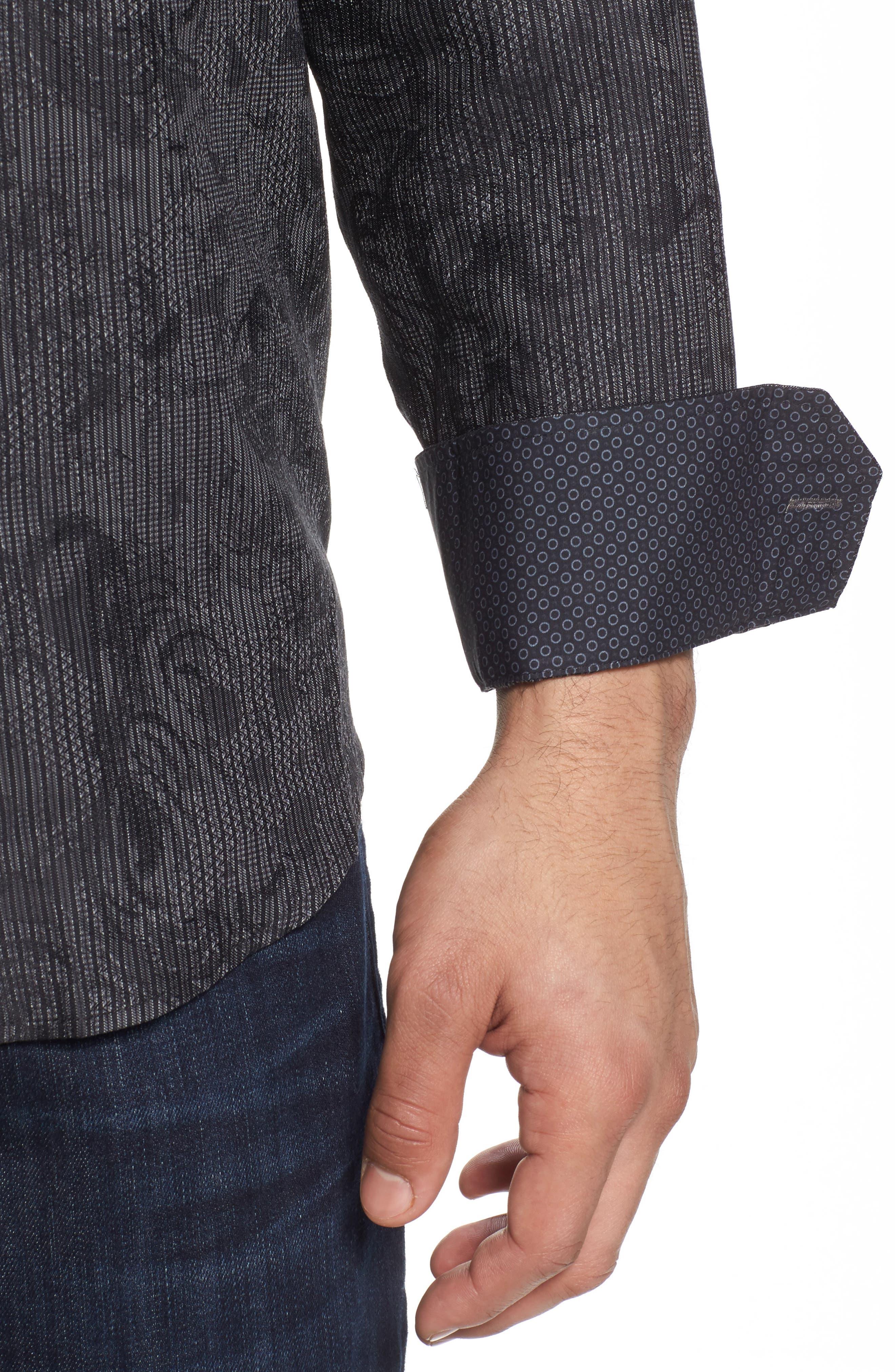 Shaped Fit Print Sport Shirt,                             Alternate thumbnail 4, color,                             Black