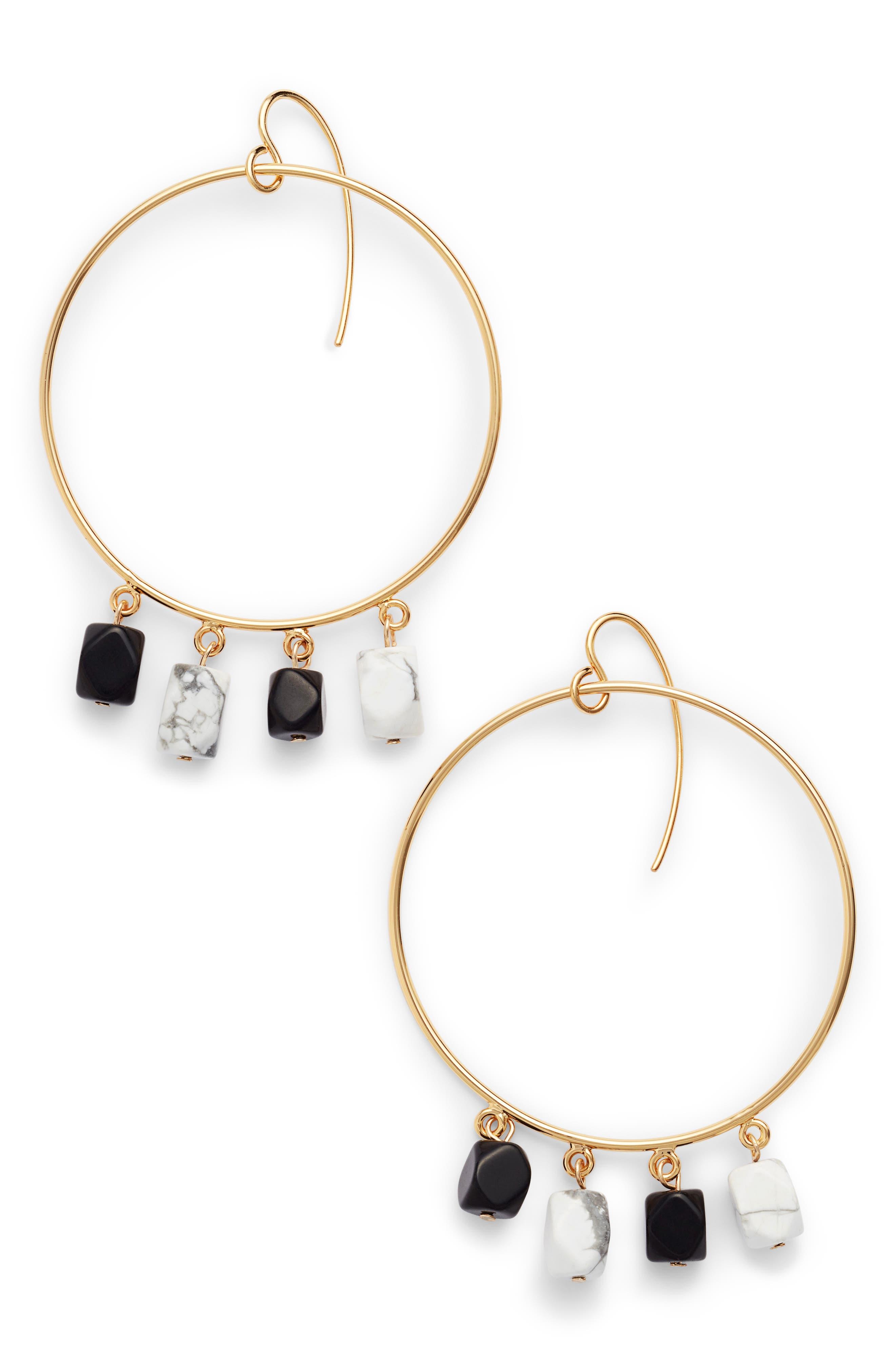 Beaded Hoop Earrings,                         Main,                         color, Gold/ Black/ White