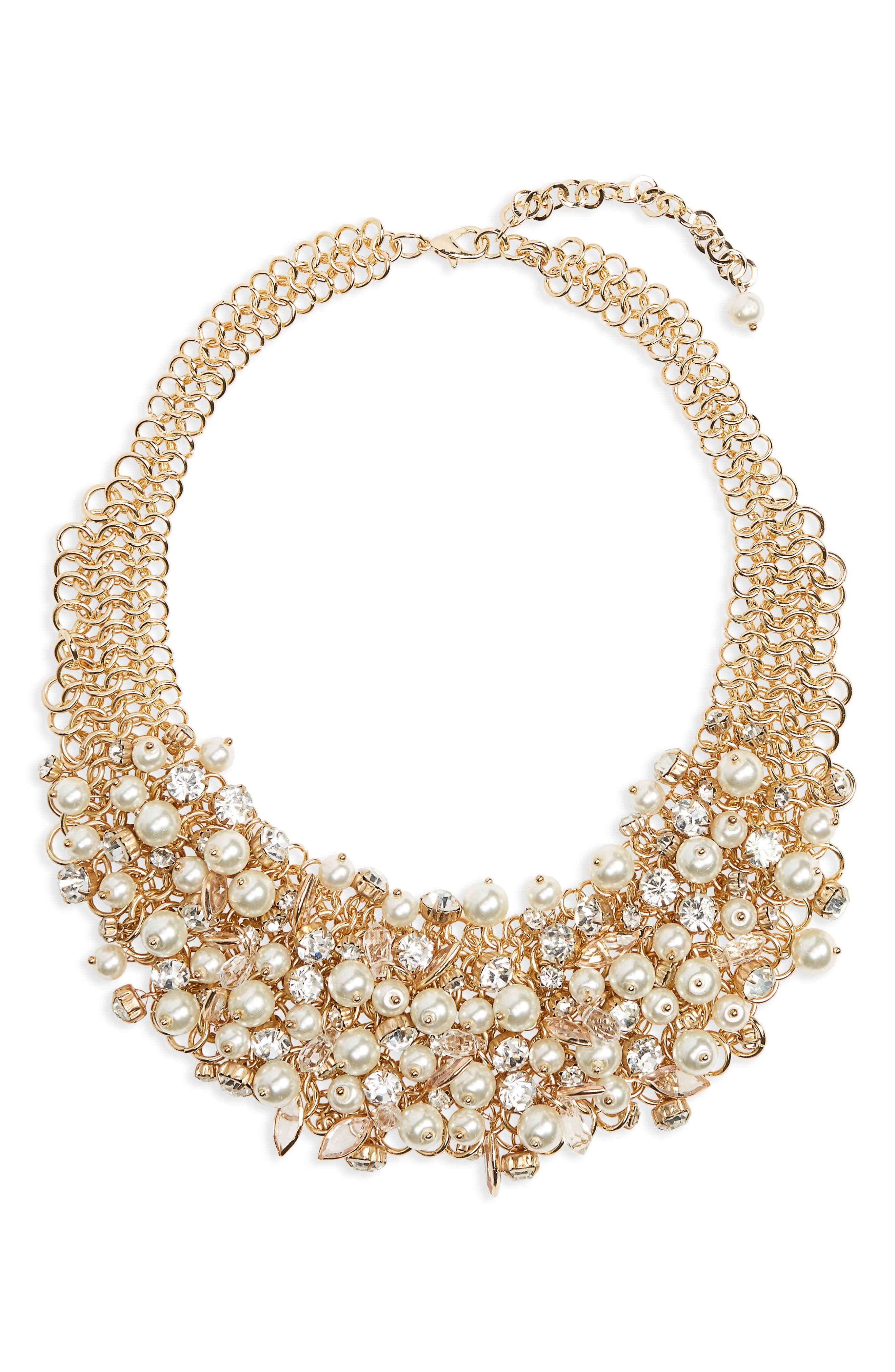 Imitation Pearl & Crystal Bib Necklace,                         Main,                         color, Gold