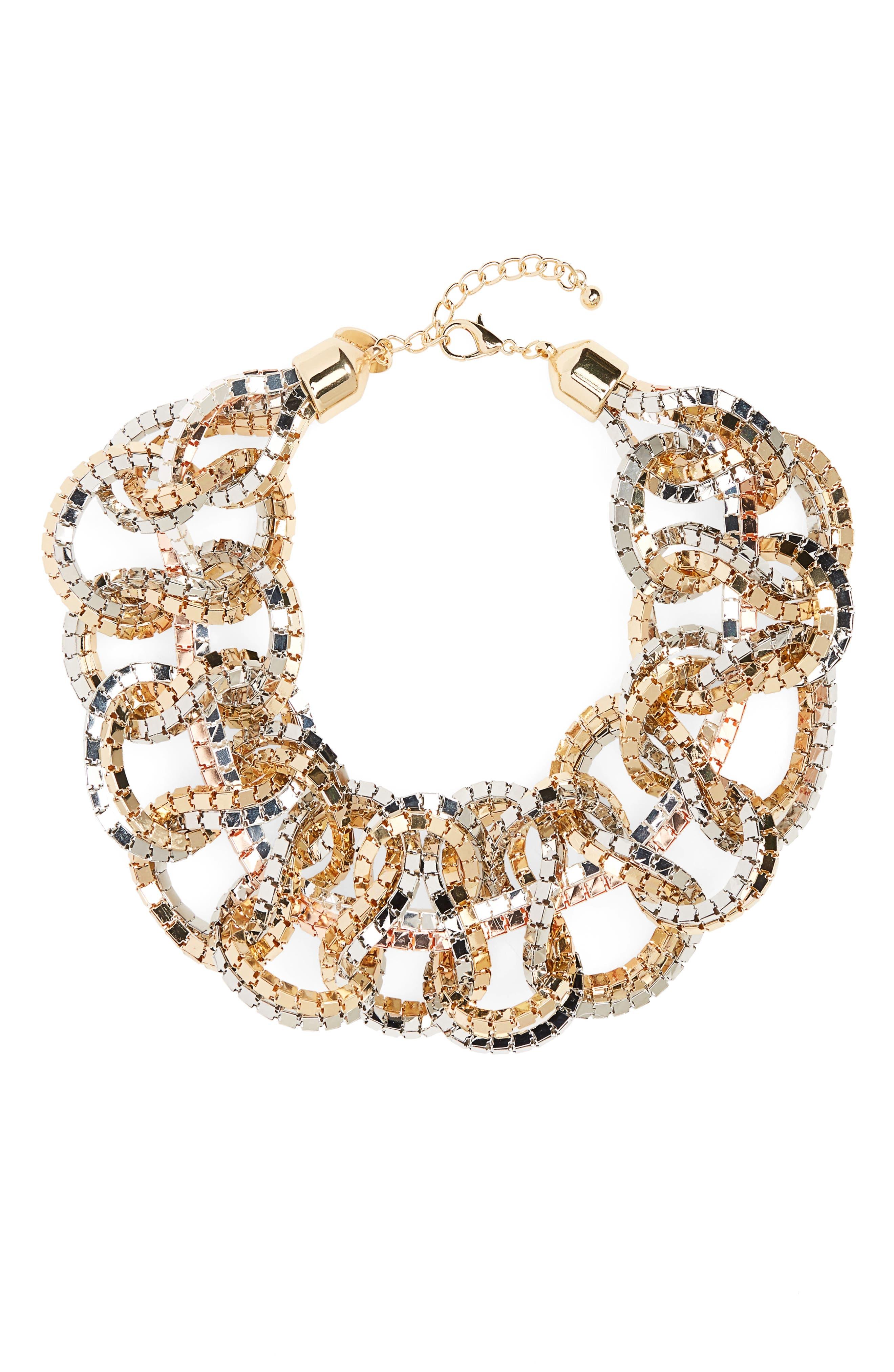 Box Chain Bib Necklace,                         Main,                         color, Tritone