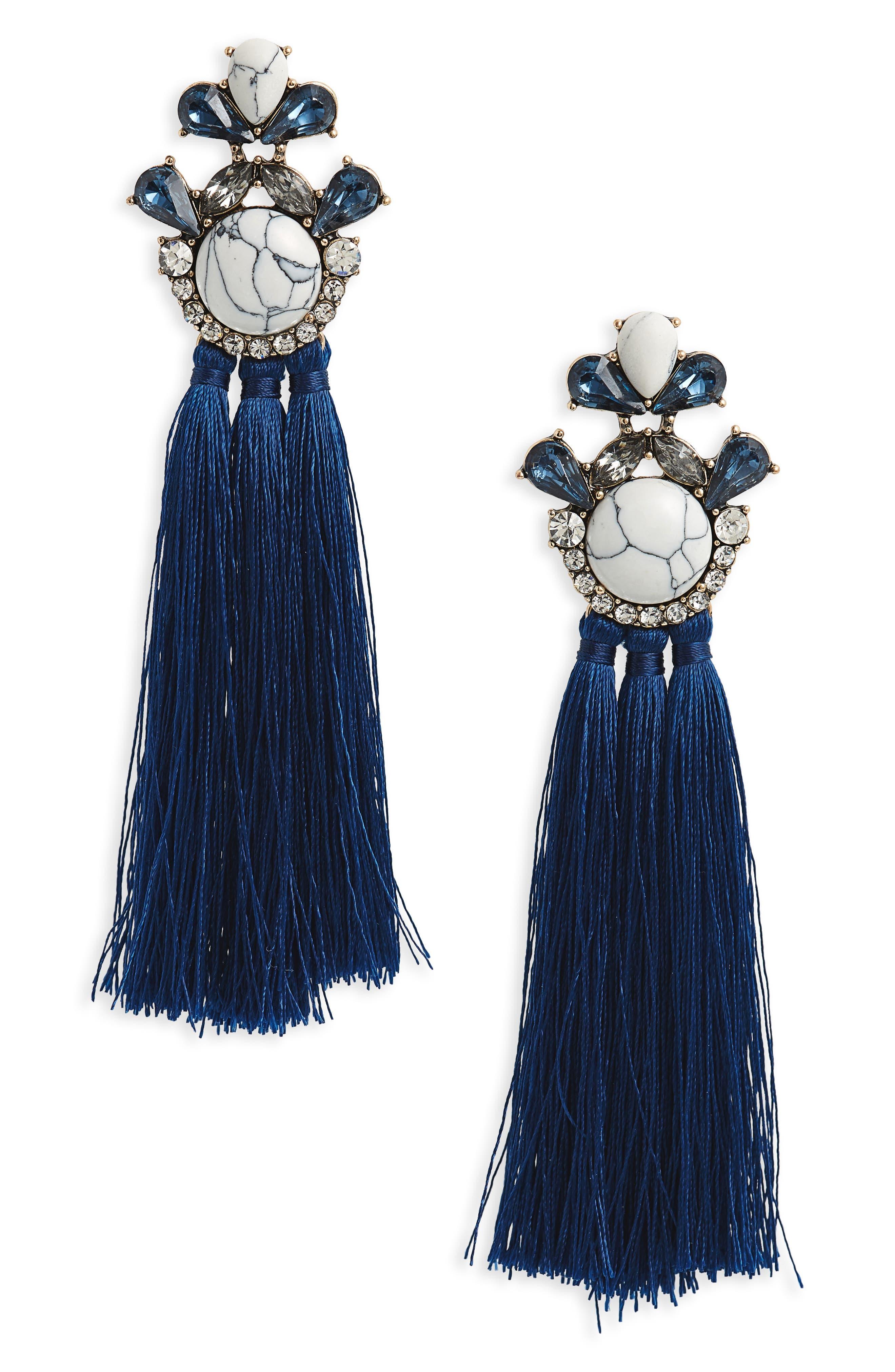 Marble & Crystal Tassel Earrings,                         Main,                         color, Marble/ Blue/ Crystal