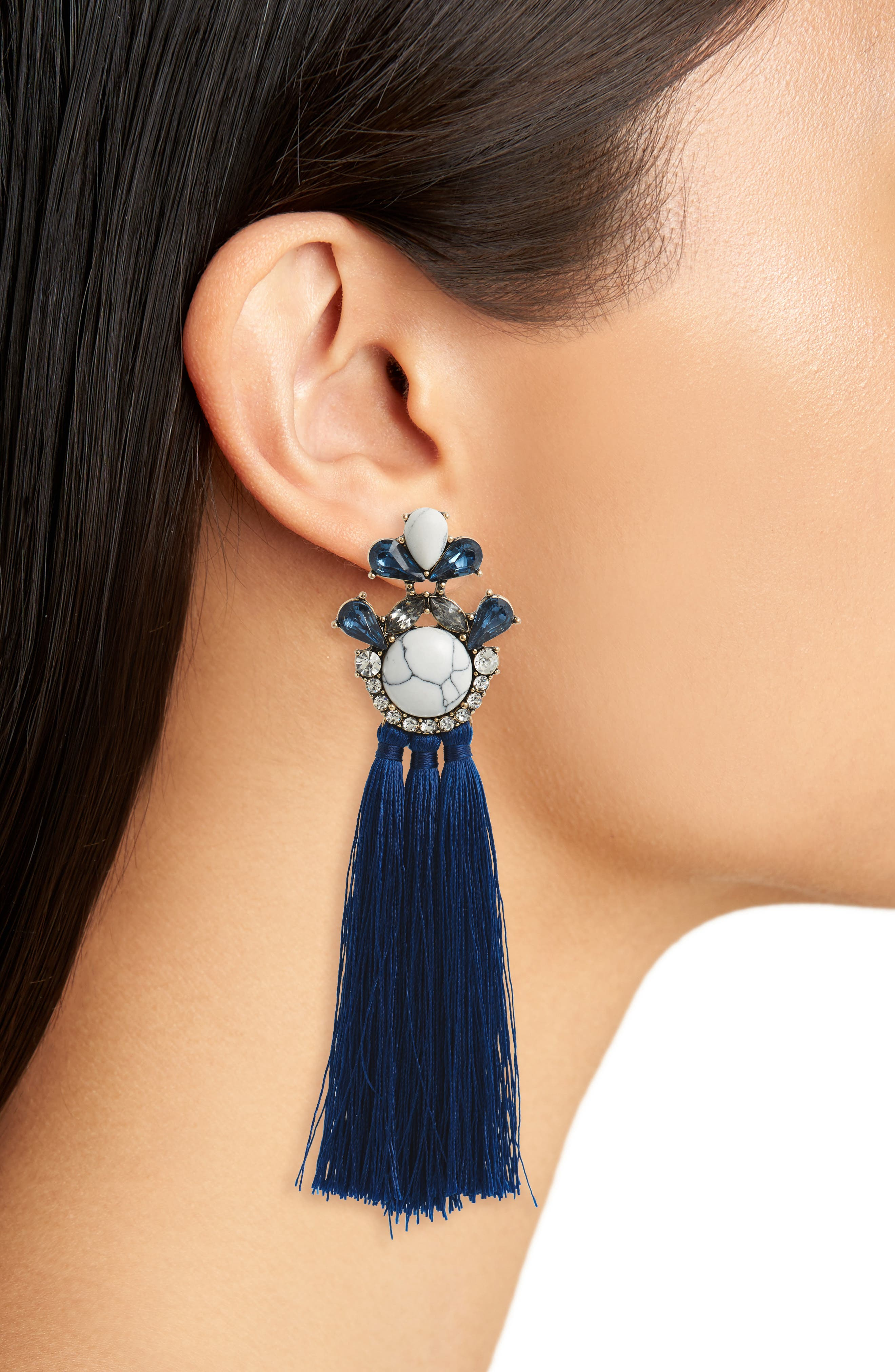 Marble & Crystal Tassel Earrings,                             Alternate thumbnail 2, color,                             Marble/ Blue/ Crystal