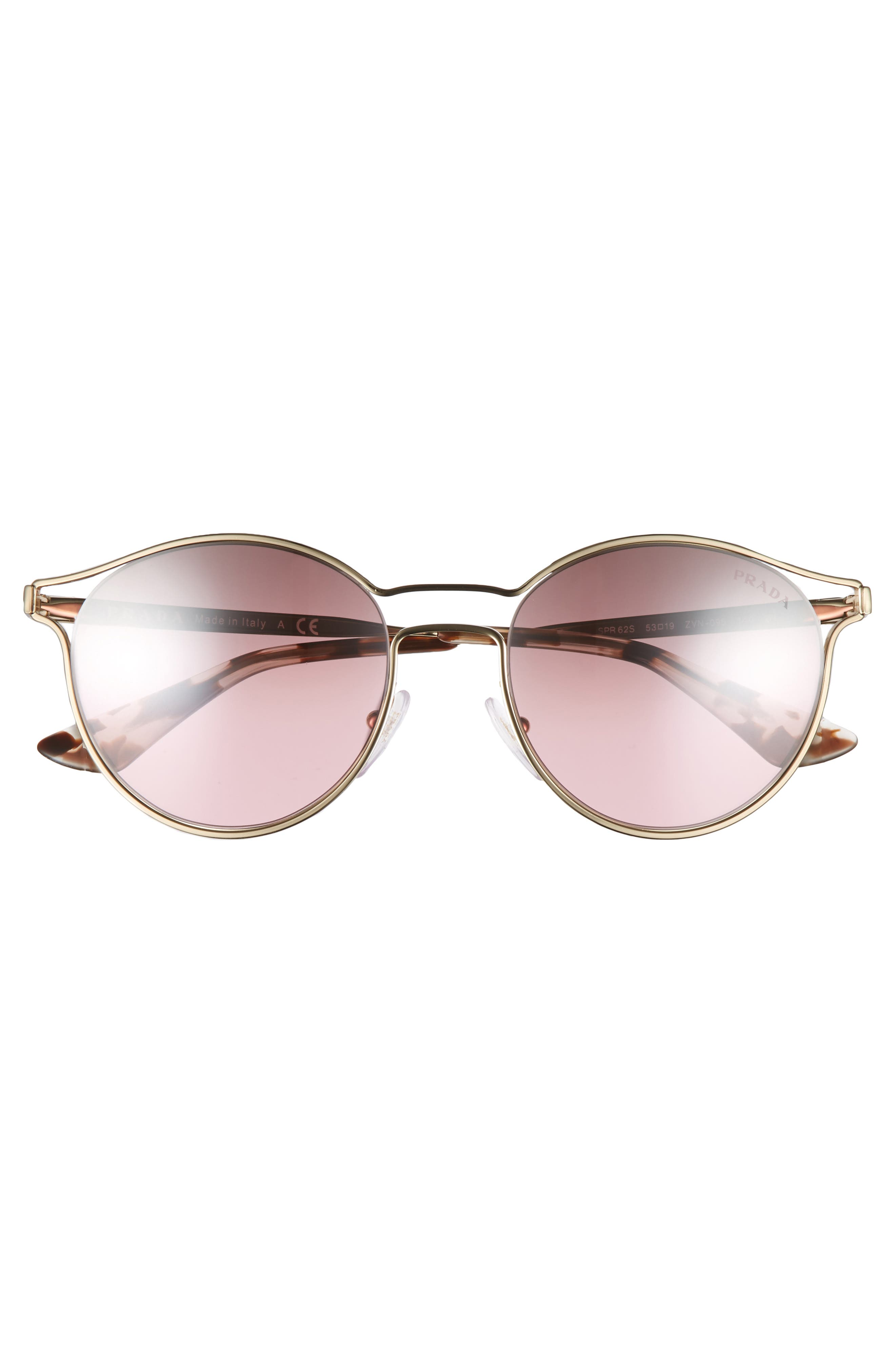 53mm Round Mirrored Sunglasses,                             Alternate thumbnail 3, color,                             Pale Gold