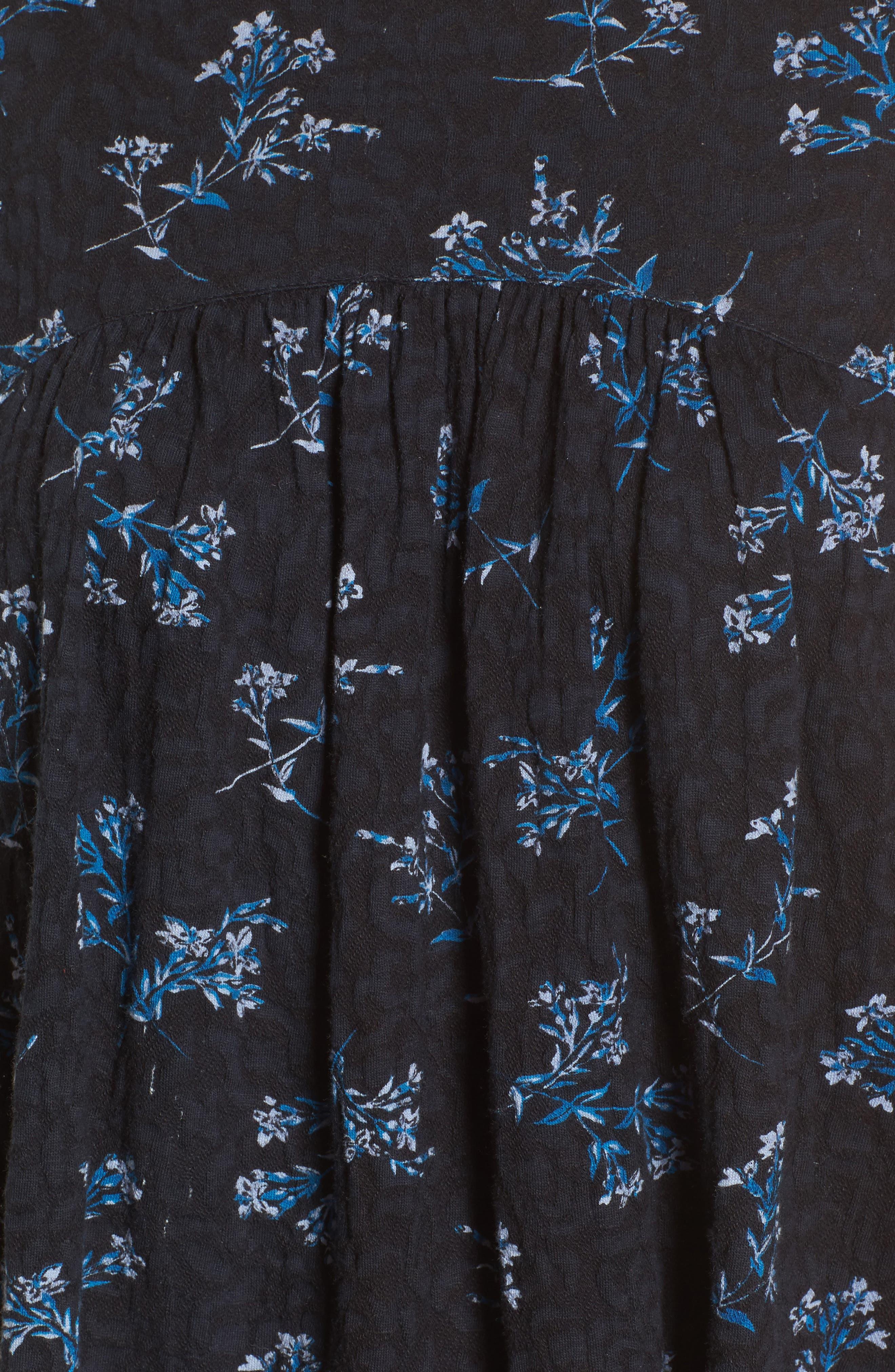 Floral Jacquard Ruffle Tank,                             Alternate thumbnail 5, color,                             Blue Multi