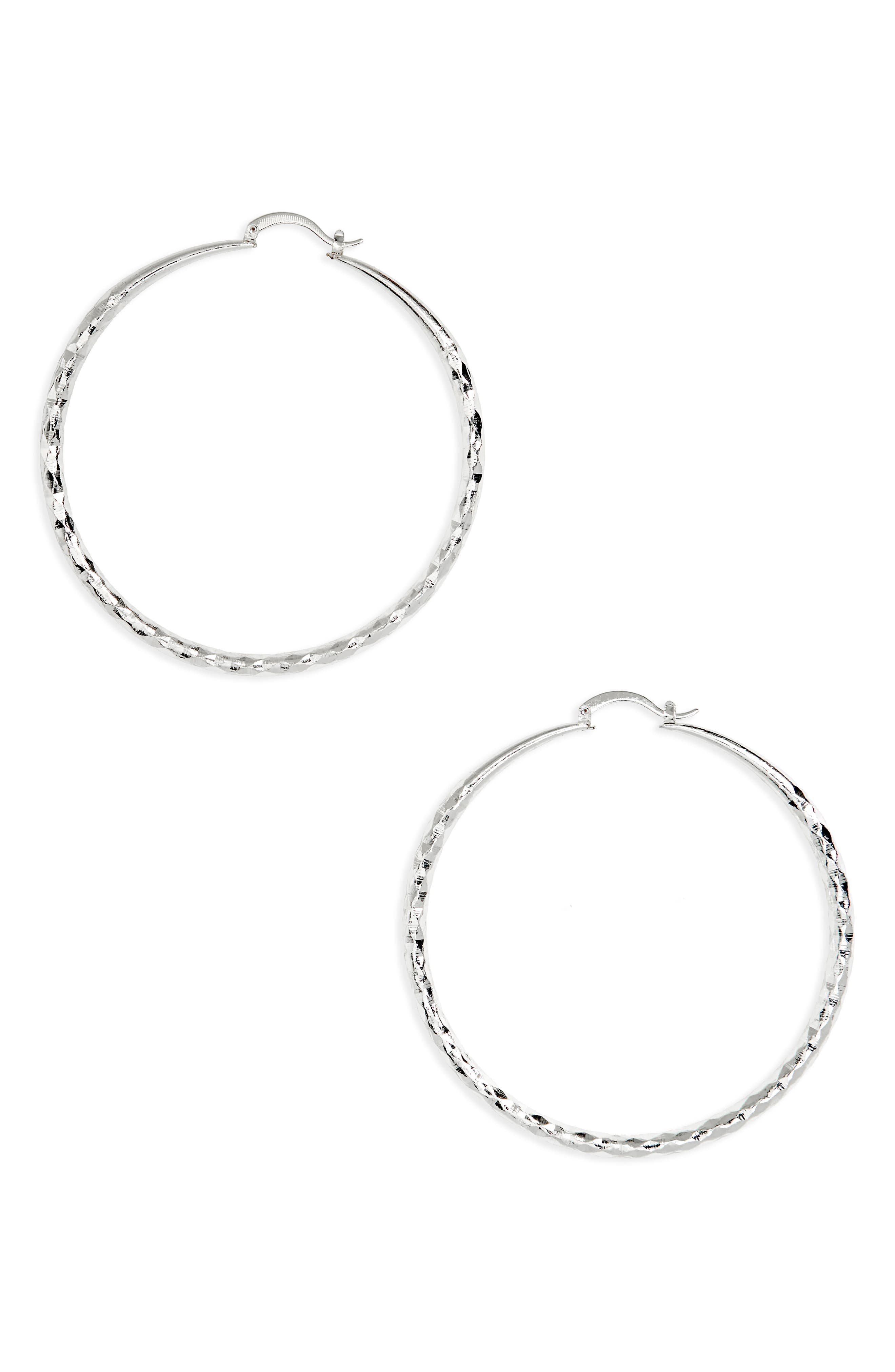 Oversized Textured Hoop Earrings,                             Main thumbnail 1, color,                             Silver