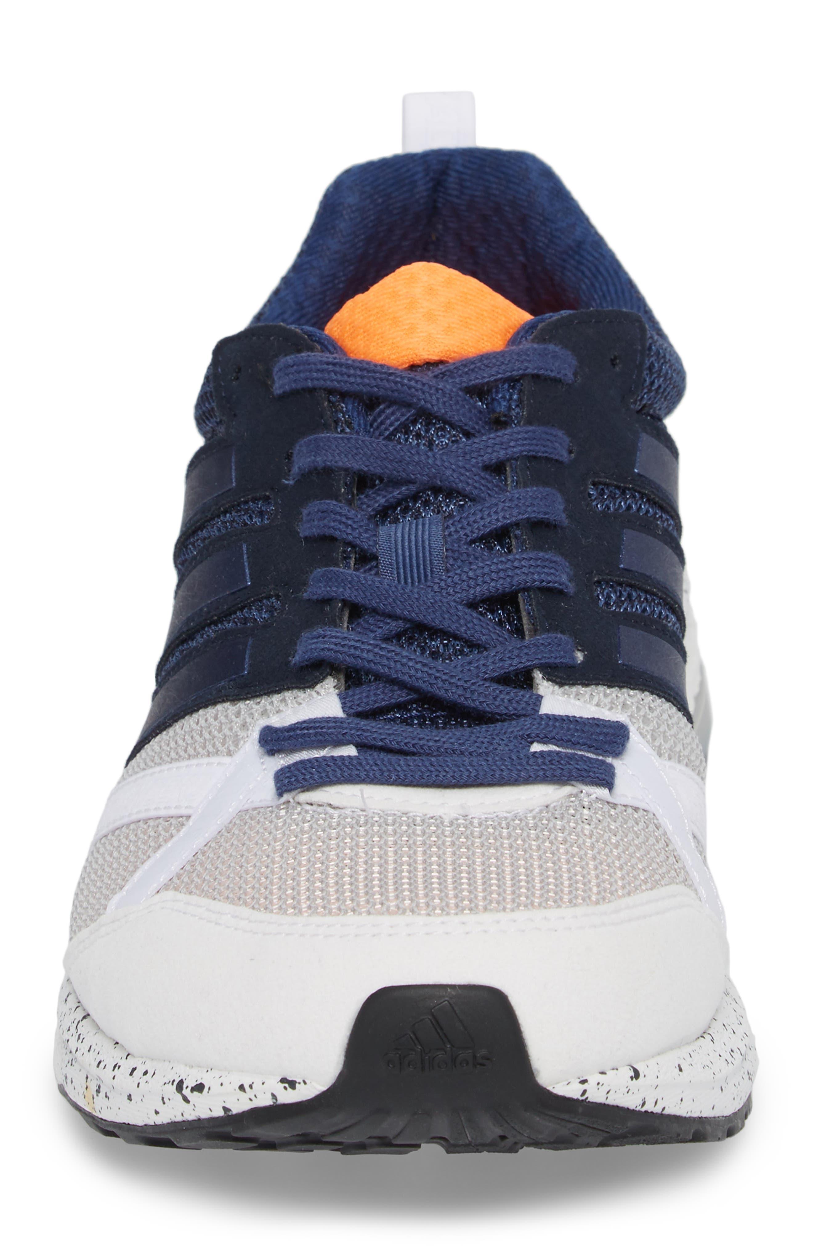 Adizero Tempo 9 M Running Shoe,                             Alternate thumbnail 4, color,                             White/ Indigo/ Core Black