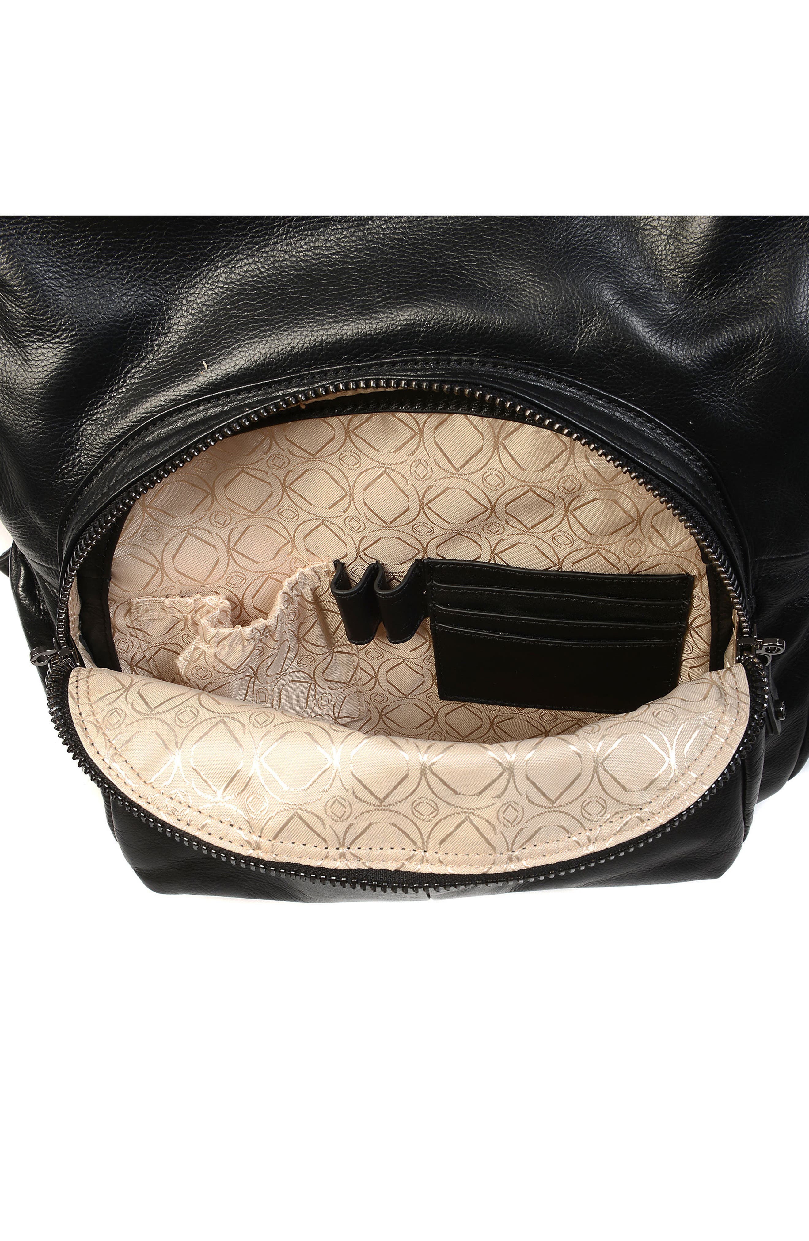 Joy XL Leather Backpack,                             Alternate thumbnail 9, color,                             Black