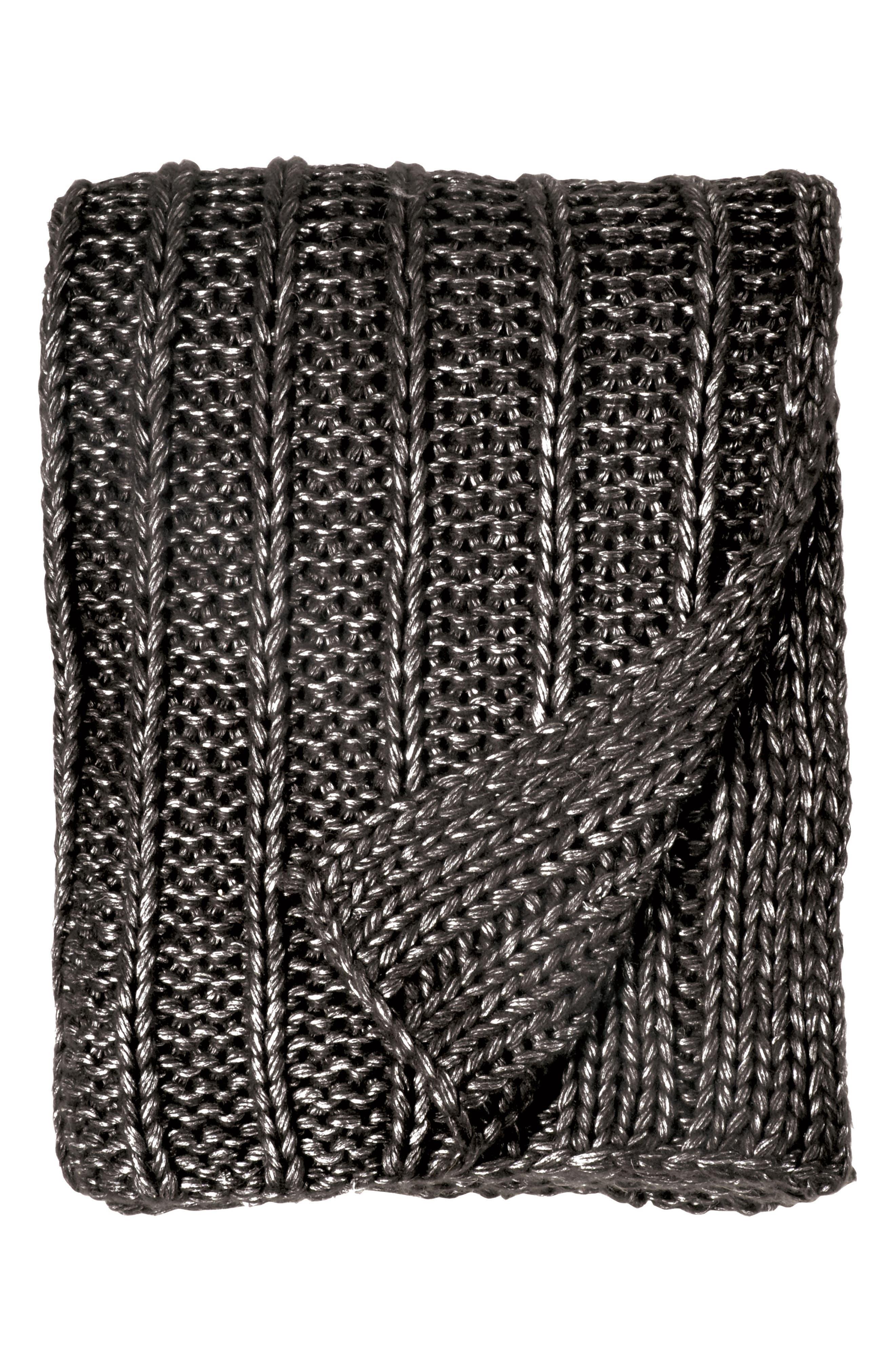 Metallic Rib Knit Throw,                             Main thumbnail 1, color,                             Charcoal