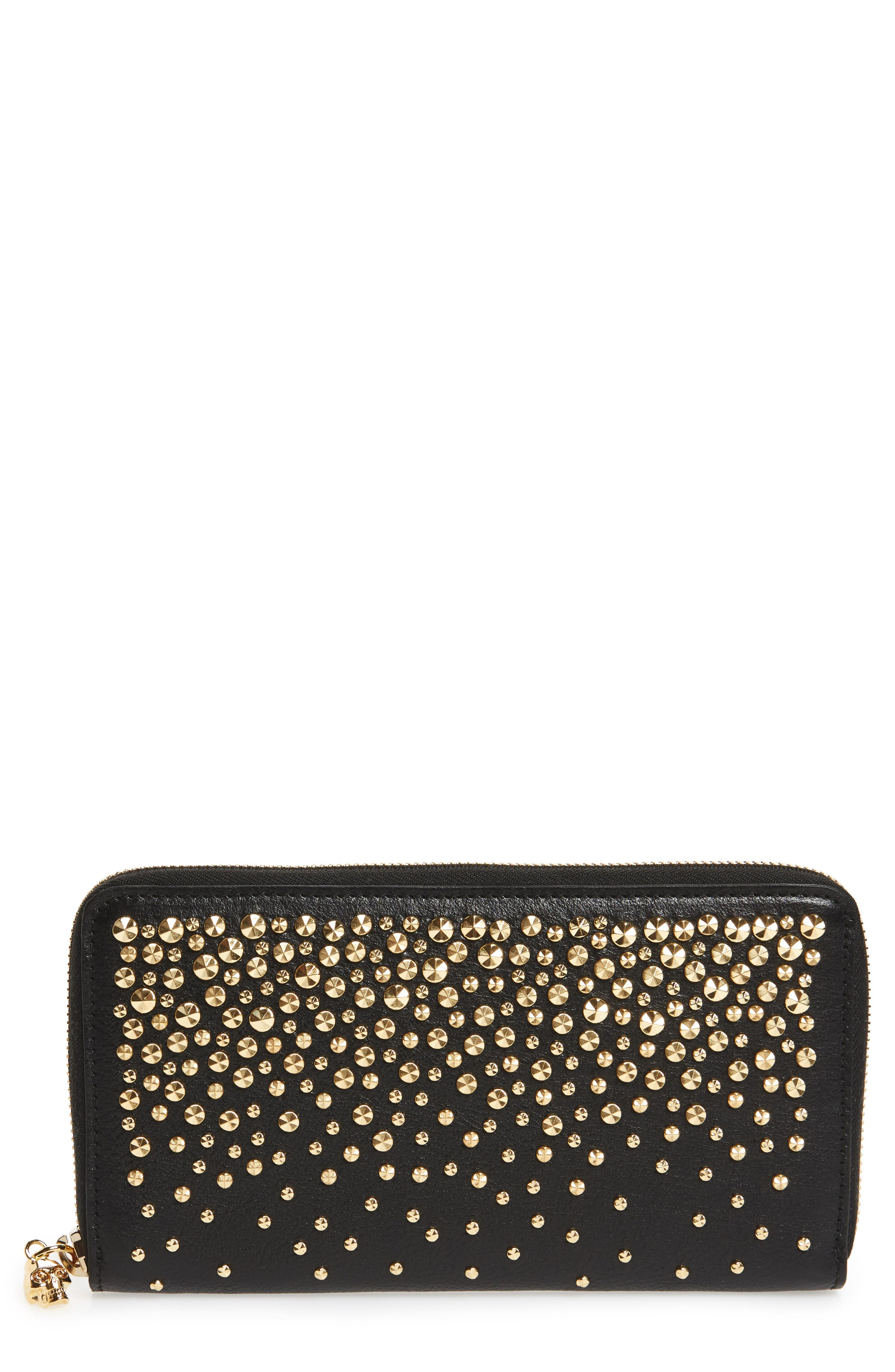 Studded Leather Continental Wallet,                             Main thumbnail 1, color,                             Black