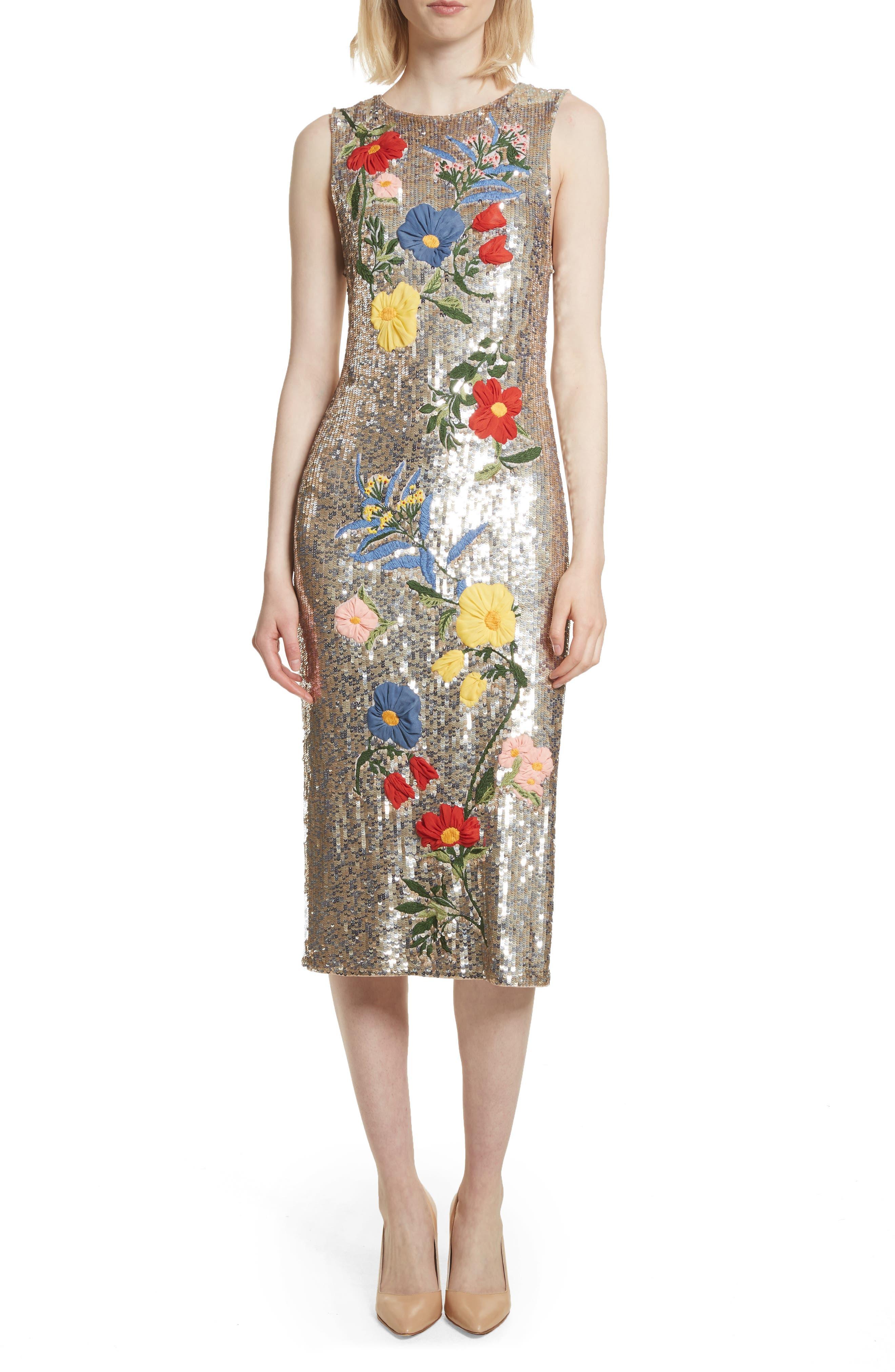 Alice + Olivia Nat Embellished Sheath Dress