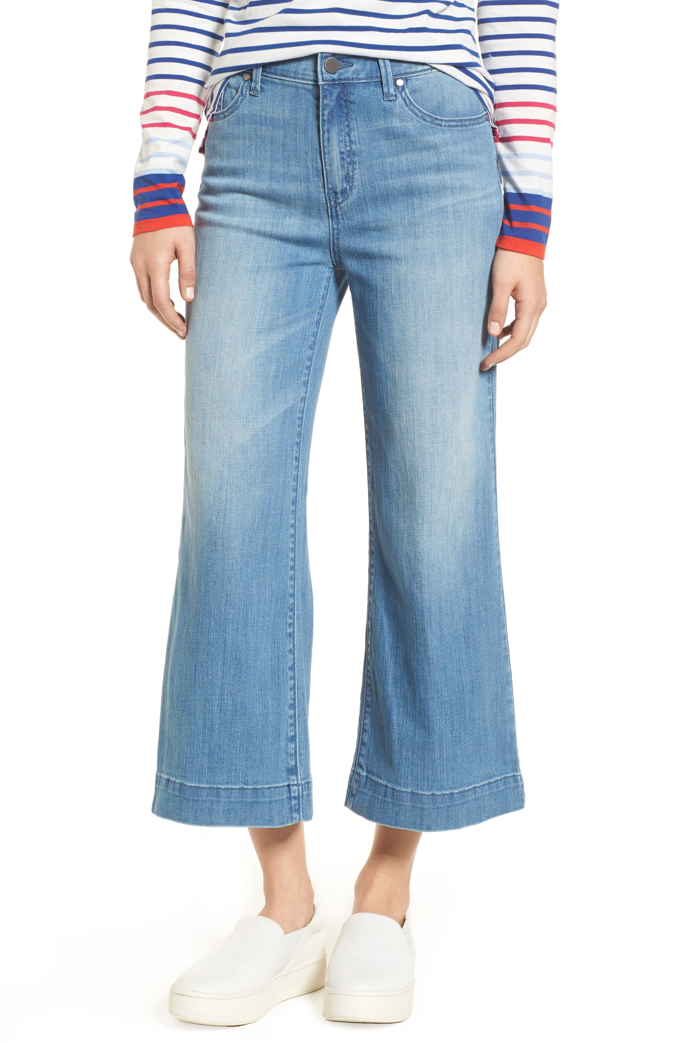 Wide Leg Cropped Jeans,                         Main,                         color, Modern Wash