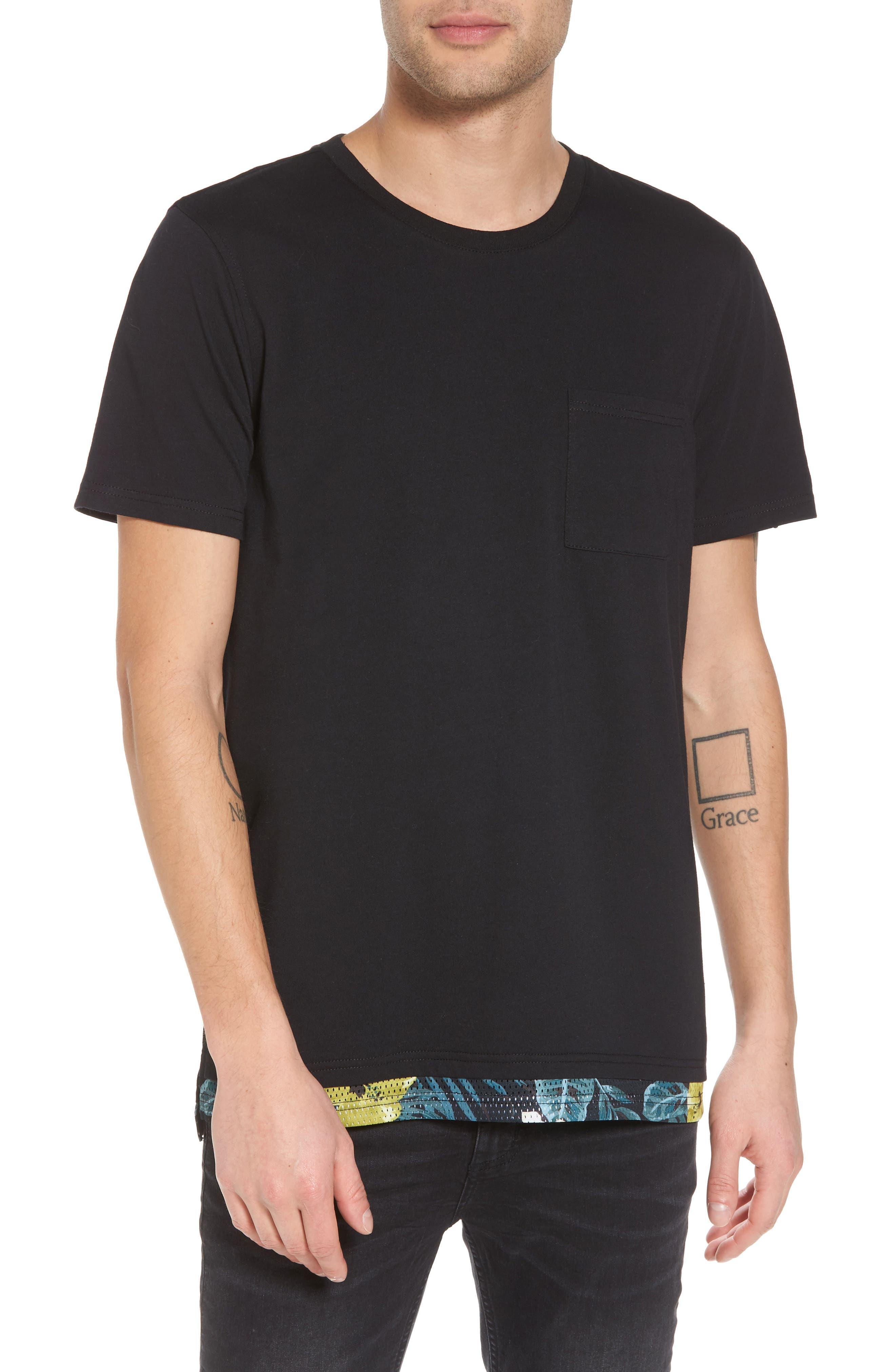 Contrast Mesh Layered T-Shirt,                         Main,                         color, Black Rock
