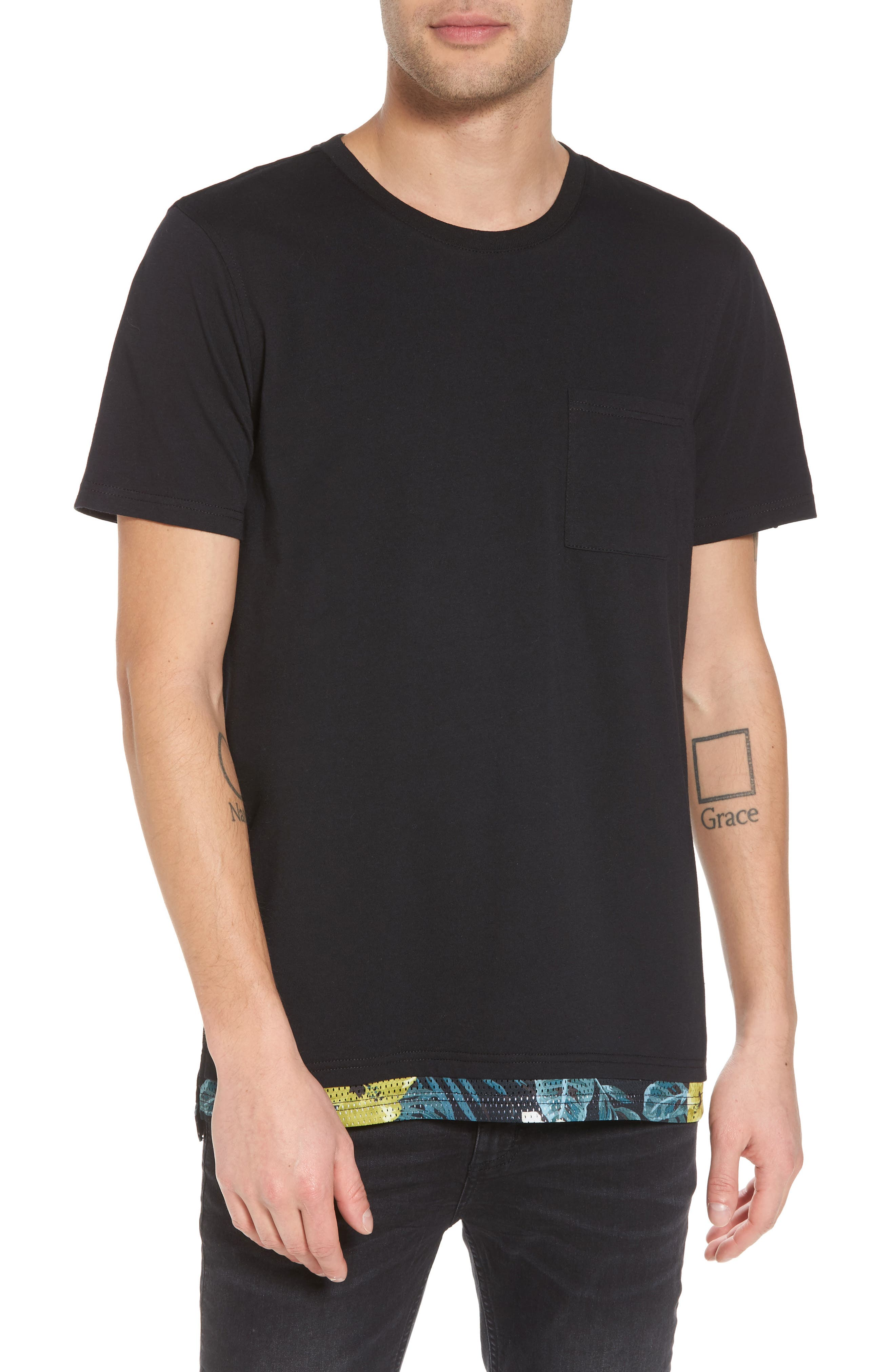 Contrast Mesh Layered T-Shirt,                         Main,                         color, Black Rock