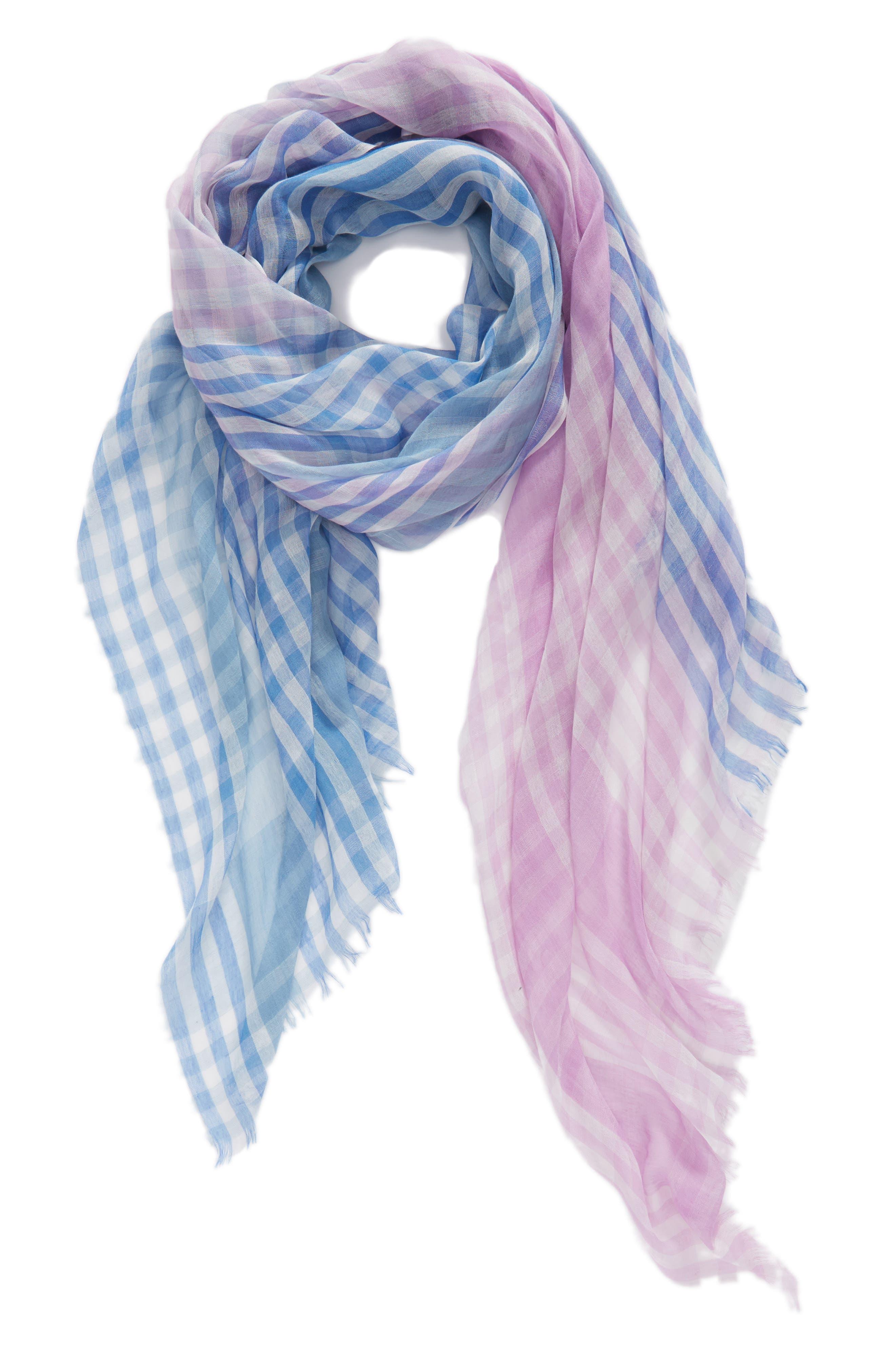 Yarn Dyed Stripe Wrap,                             Alternate thumbnail 2, color,                             Purple Combo Mini Check Wrap