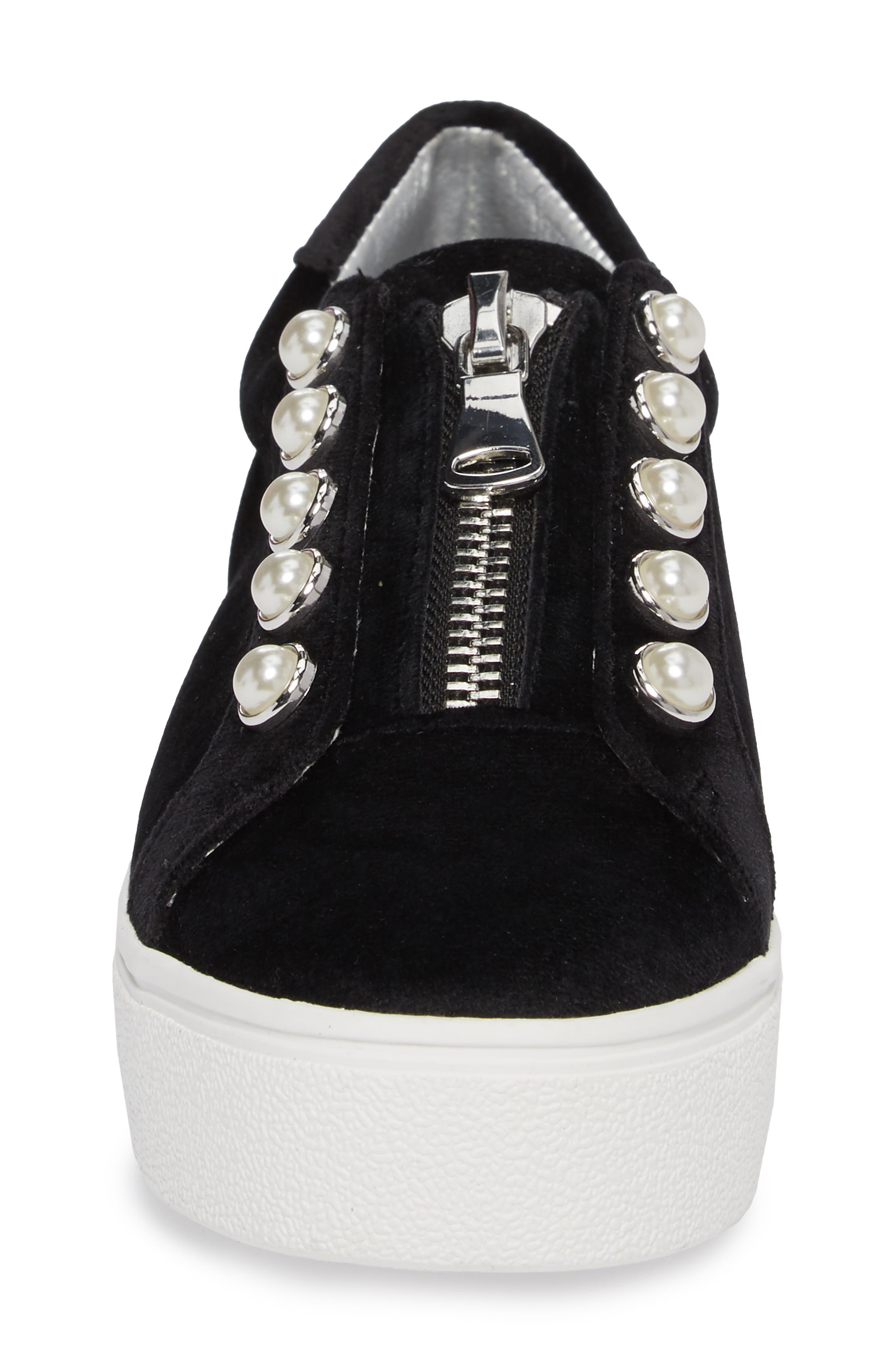 Lynn Embellished Platform Sneaker,                             Alternate thumbnail 4, color,                             Black Velvet