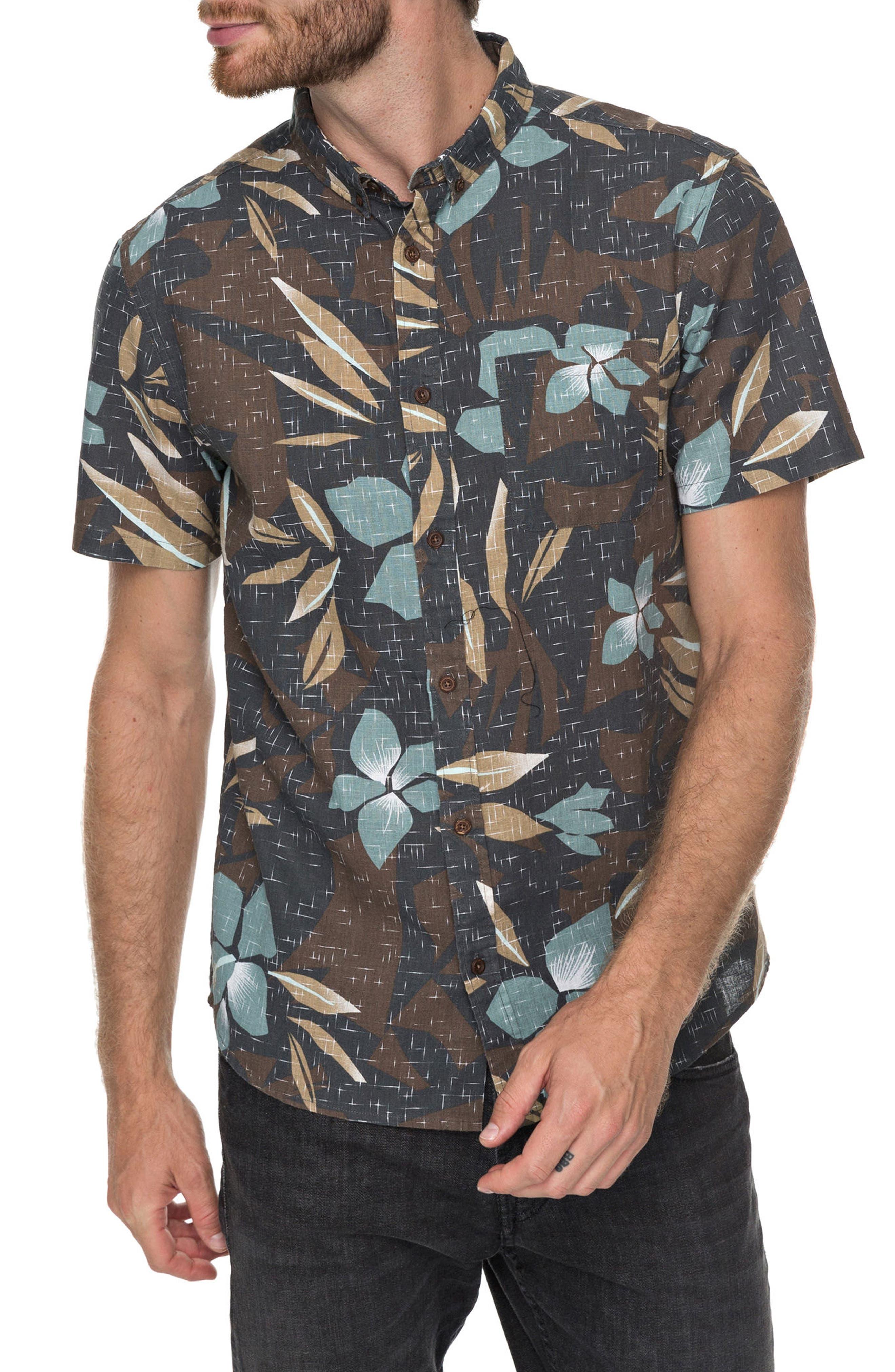 Print Linen-Blend Shirt,                             Main thumbnail 1, color,                             Chocolate