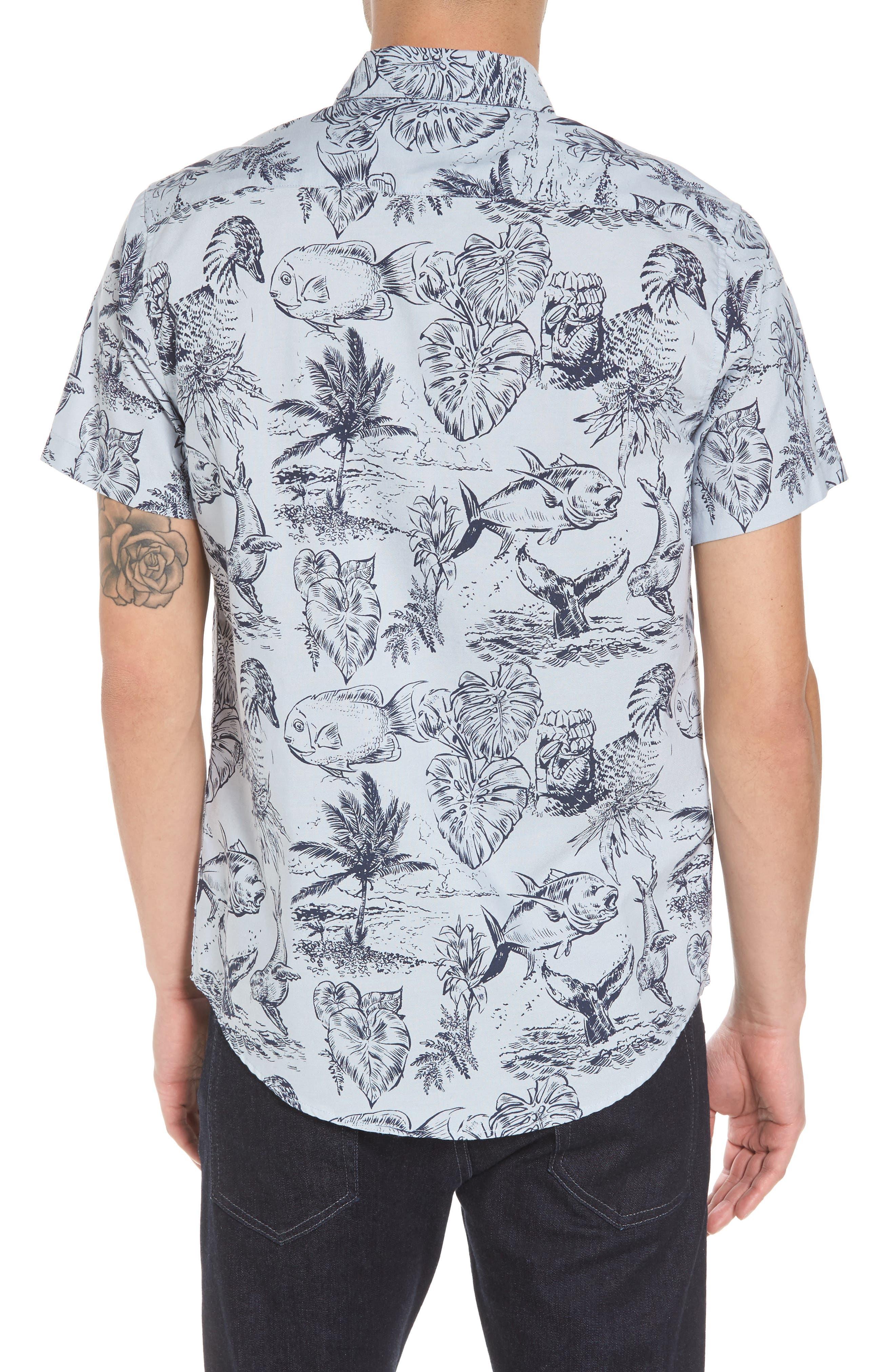 Aloha Woven Shirt,                             Alternate thumbnail 2, color,                             Deja Blue