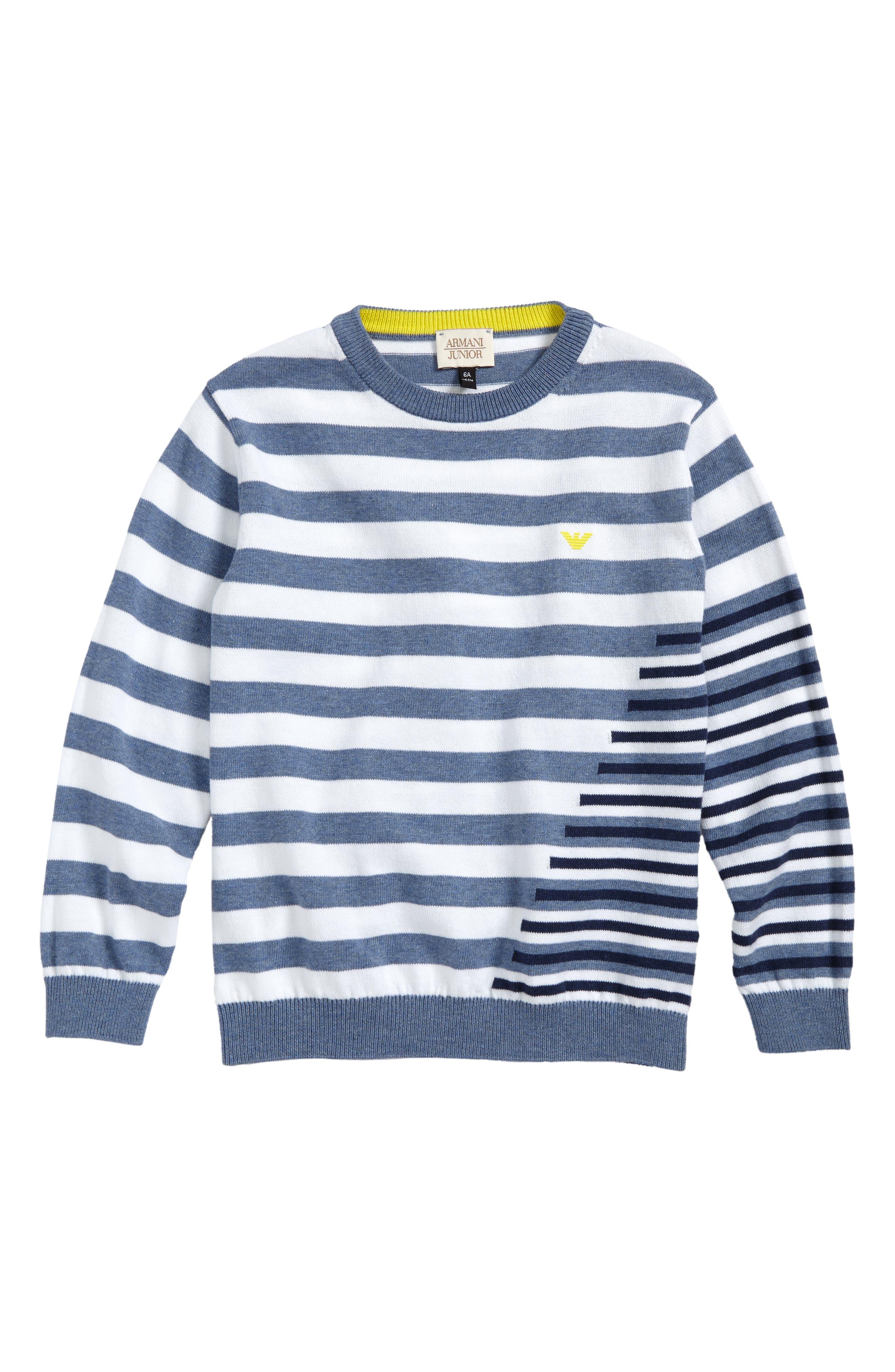 Stripe Cotton Sweater,                             Main thumbnail 1, color,                             Blue/ White