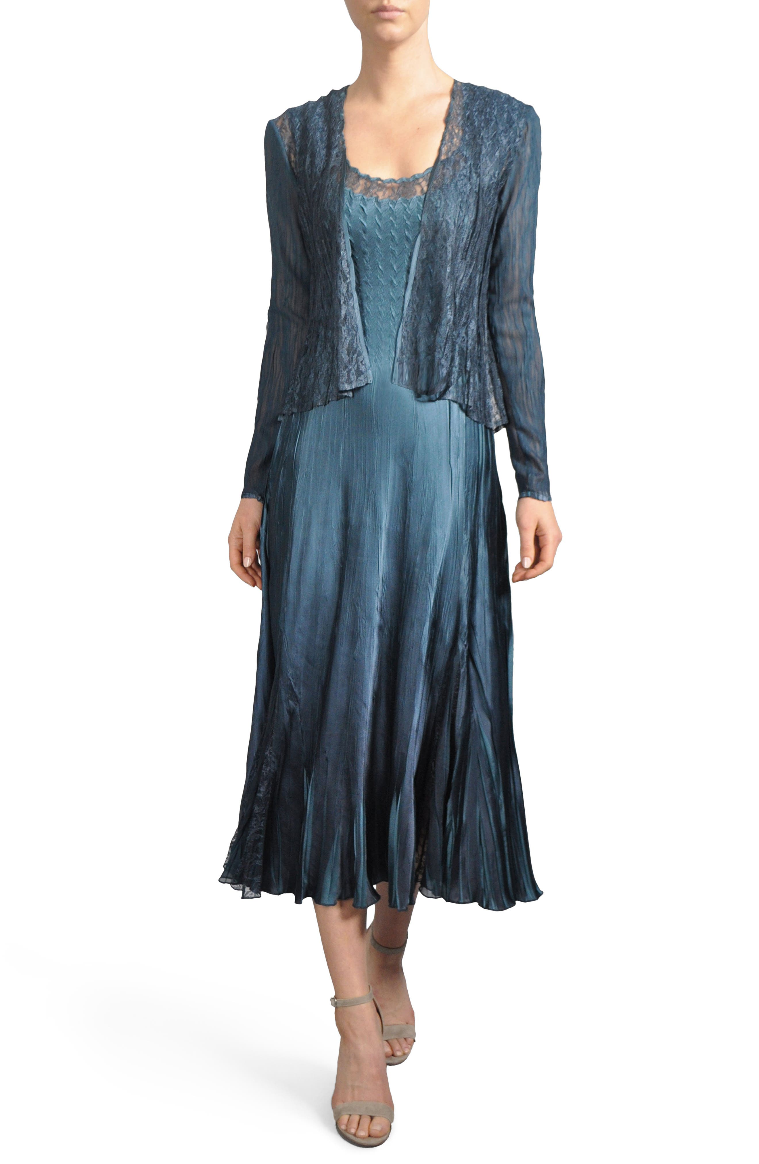 Lace Inset Midi Dress with Jacket,                         Main,                         color, Moroccan Blue
