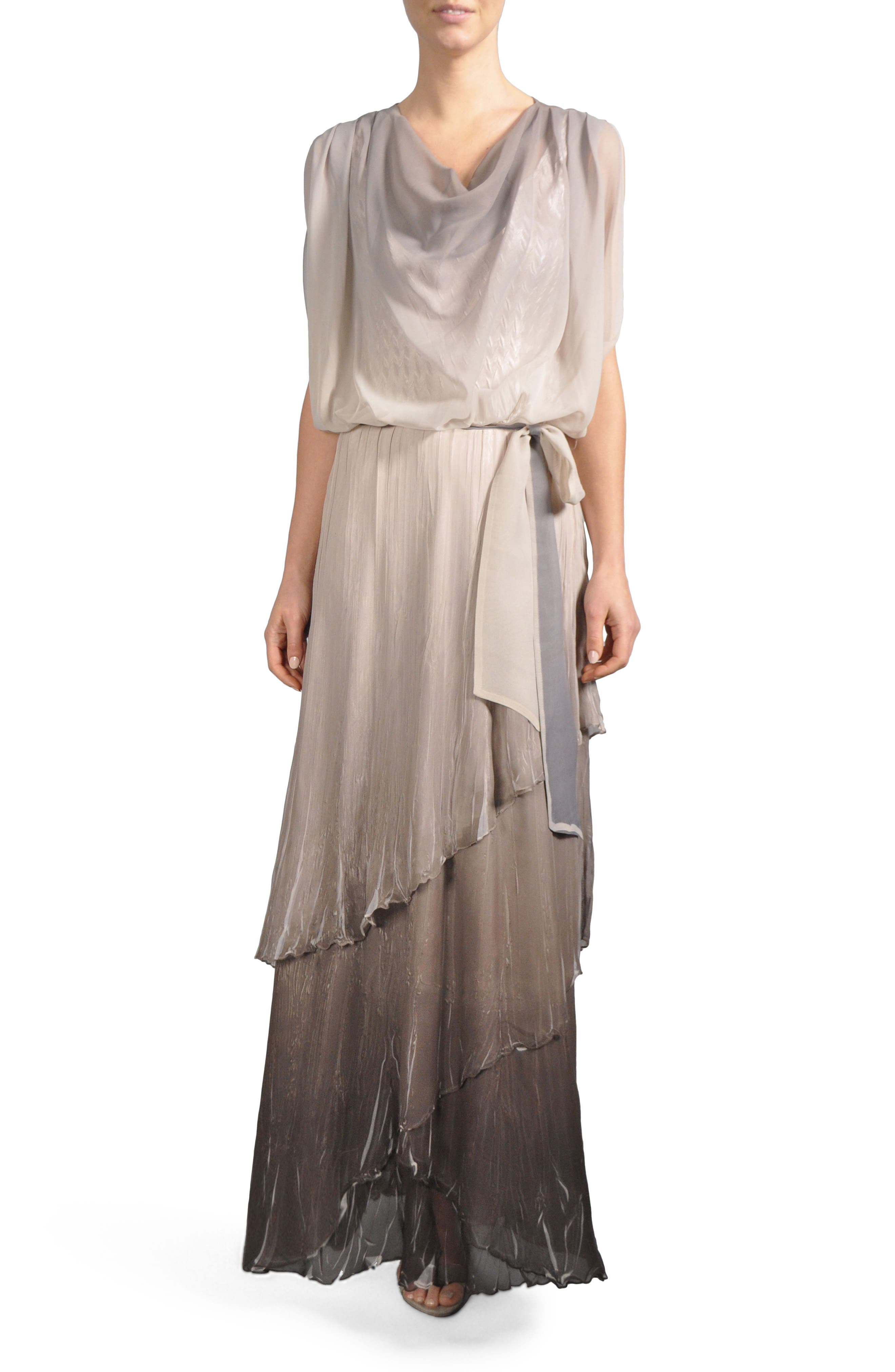 Ombré Tiered Skirt Blouson Gown,                         Main,                         color, Beach