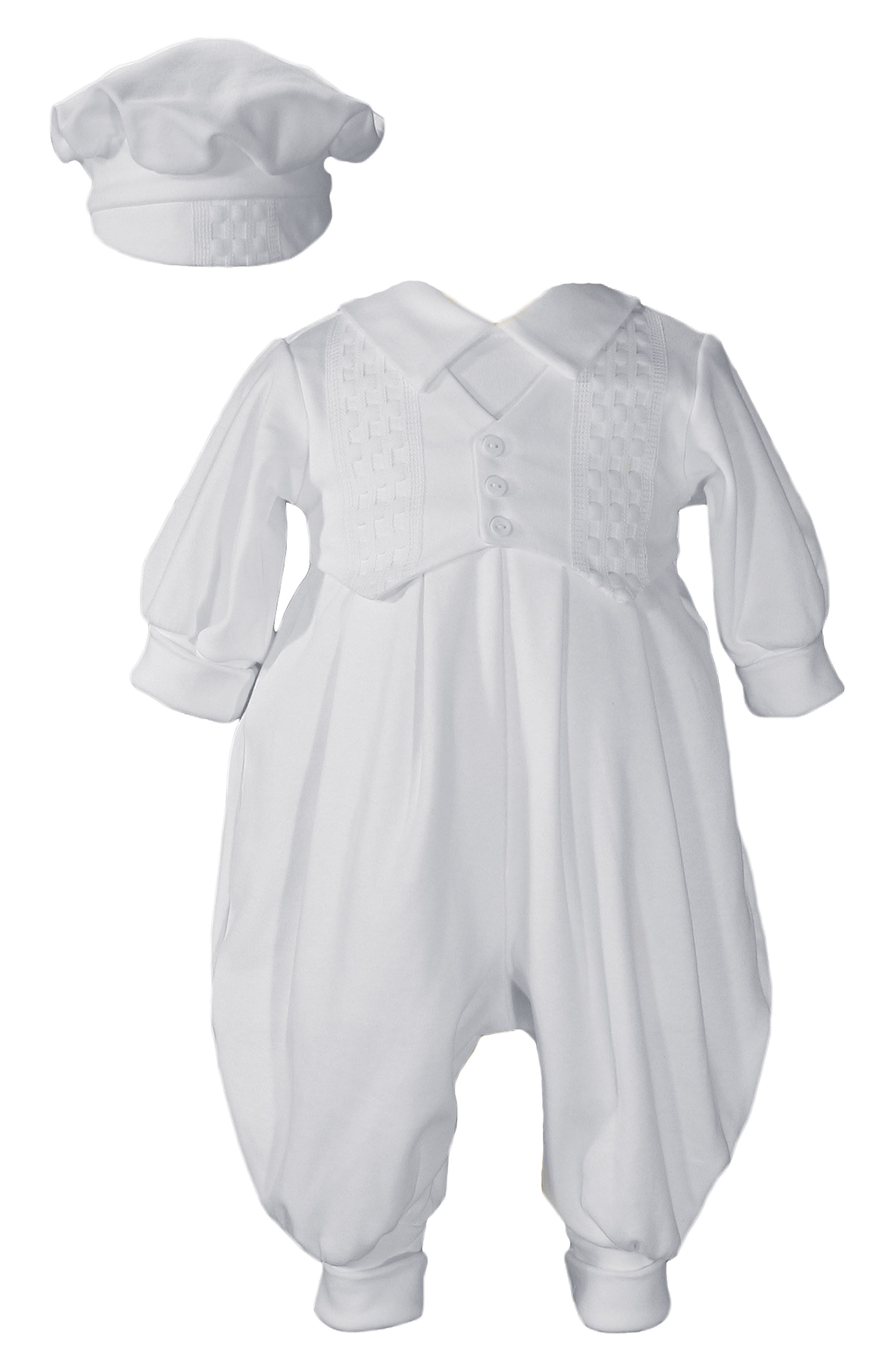 Alternate Image 1 Selected - Little Things Mean A Lot Romper & Hat Set (Baby Boys)