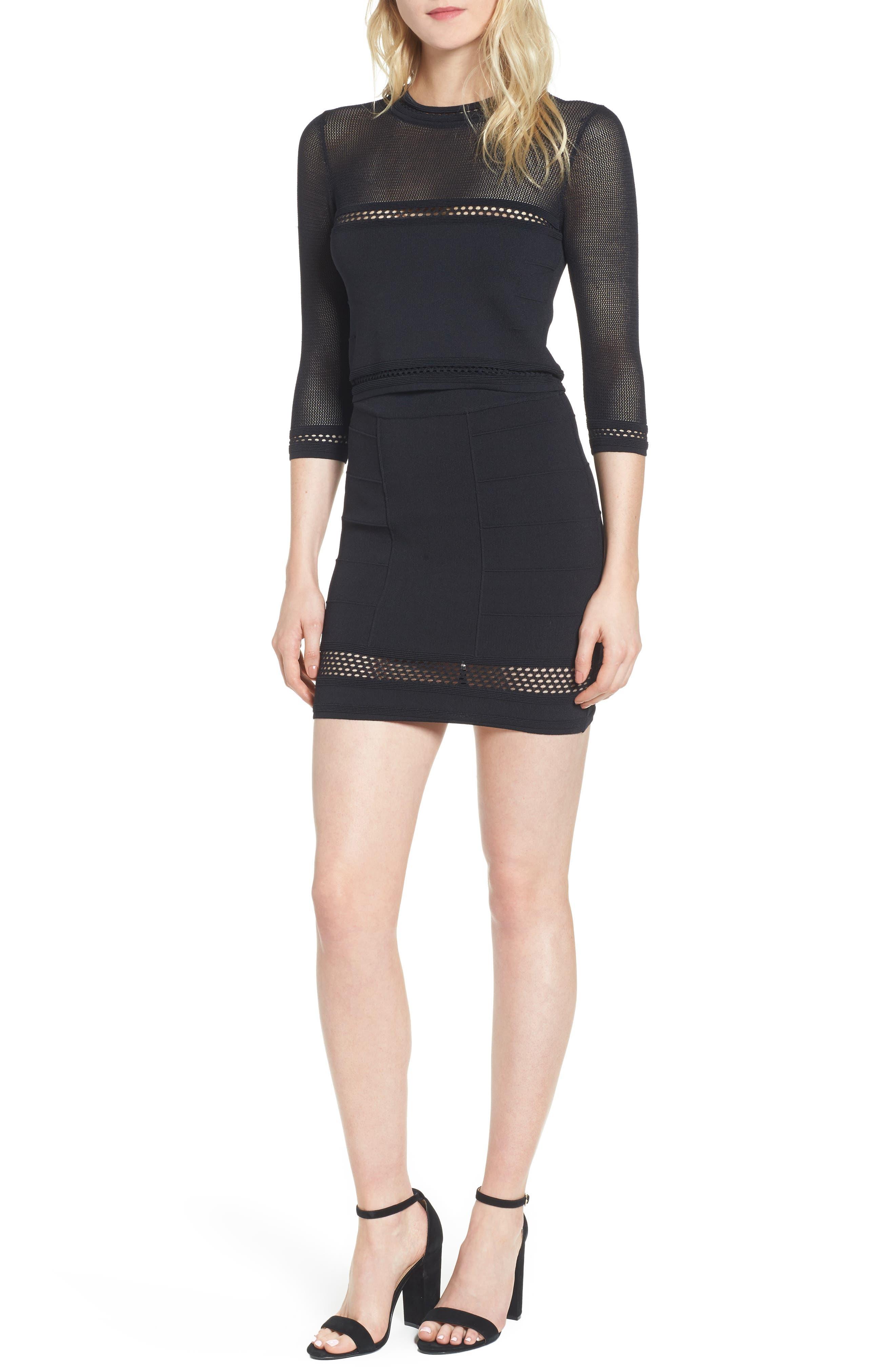 Bishop + Young Siena Peekaboo Skirt,                             Main thumbnail 1, color,                             Black