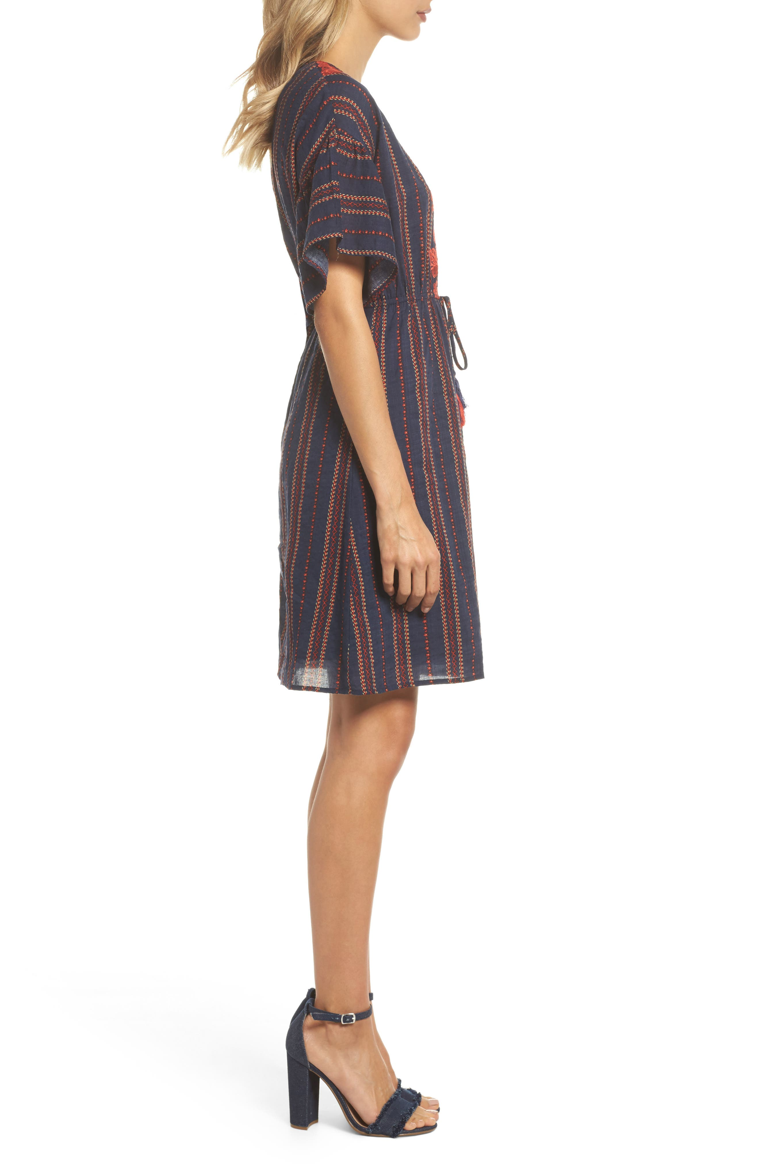 Embroidered A-Line Dress,                             Alternate thumbnail 3, color,                             Navy