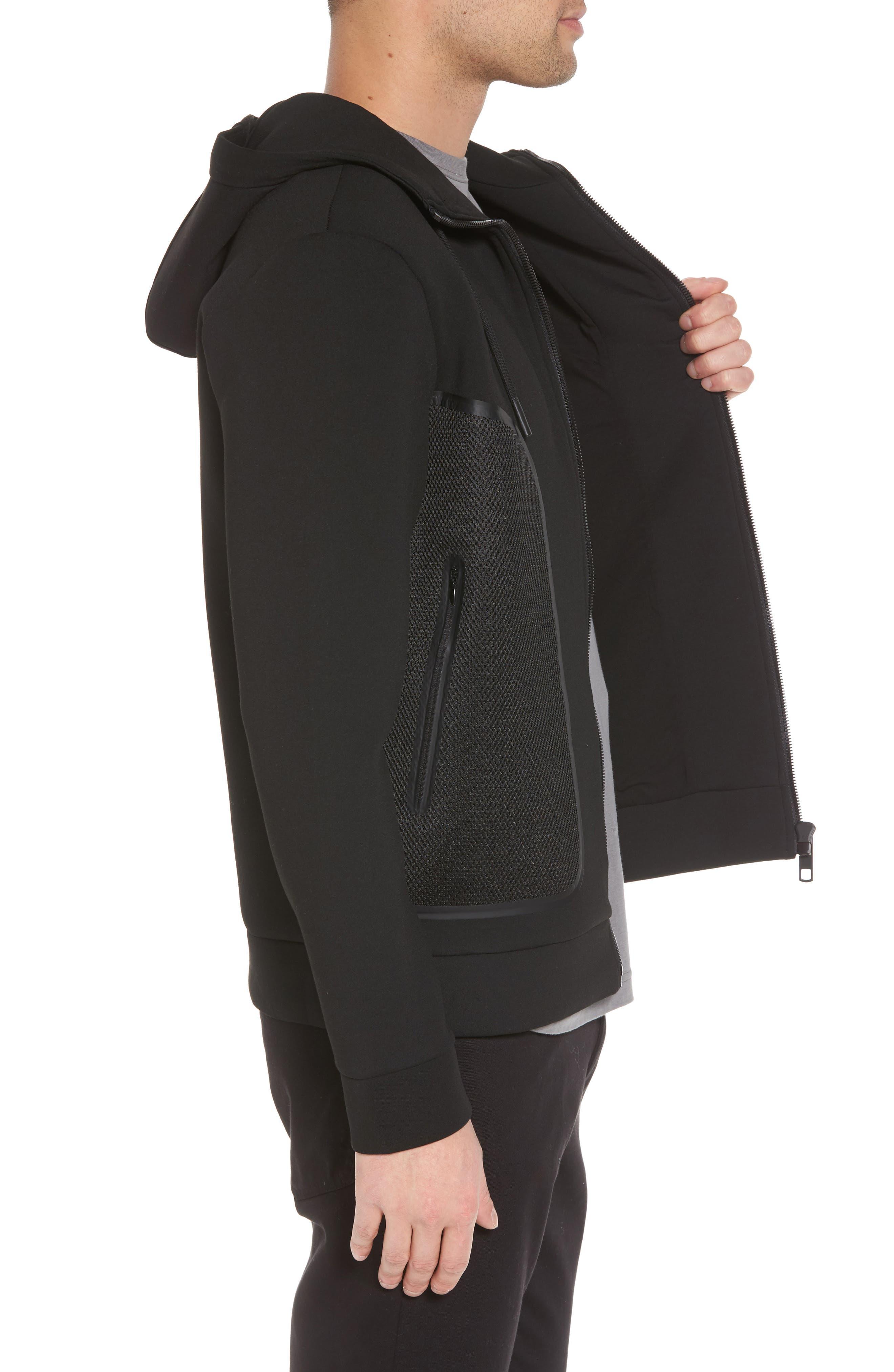 Hooded Fleece Jacket,                             Alternate thumbnail 3, color,                             Black