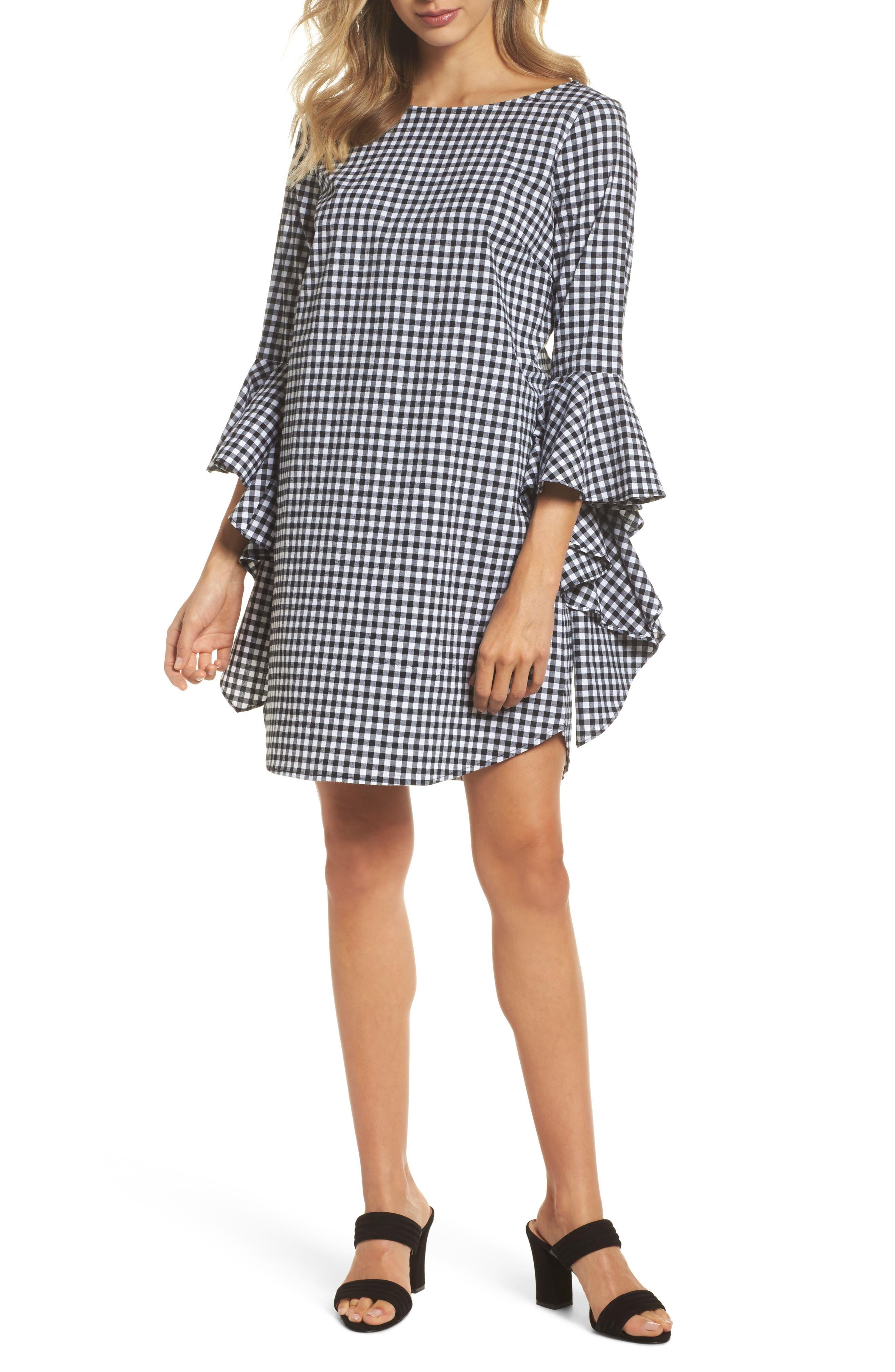 Ruffle Sleeve Gingham Shift Dress,                             Main thumbnail 1, color,                             Black/ White Gingham