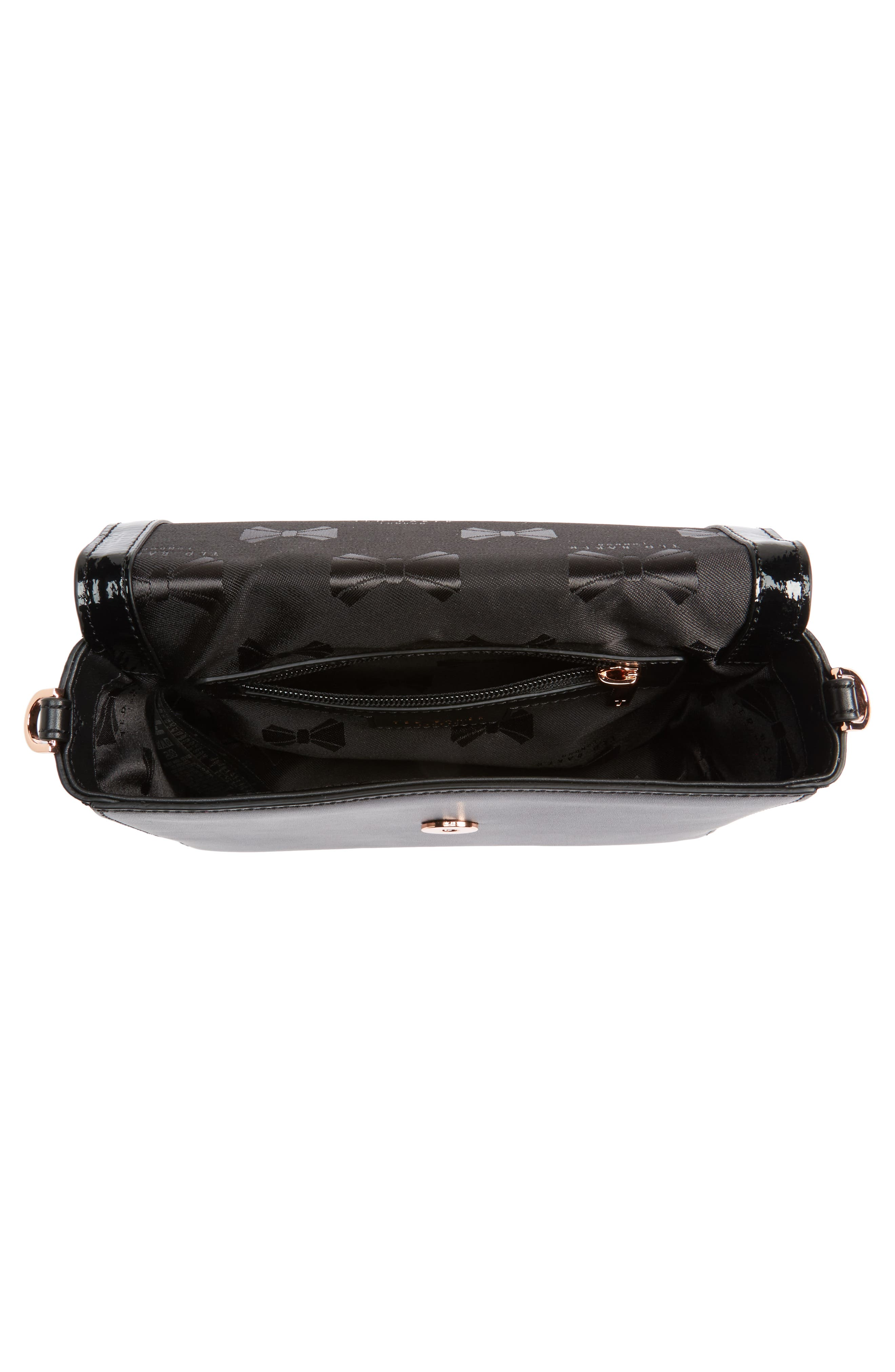 Peonyy Embellished Buckle Leather Clutch,                             Alternate thumbnail 3, color,                             Black
