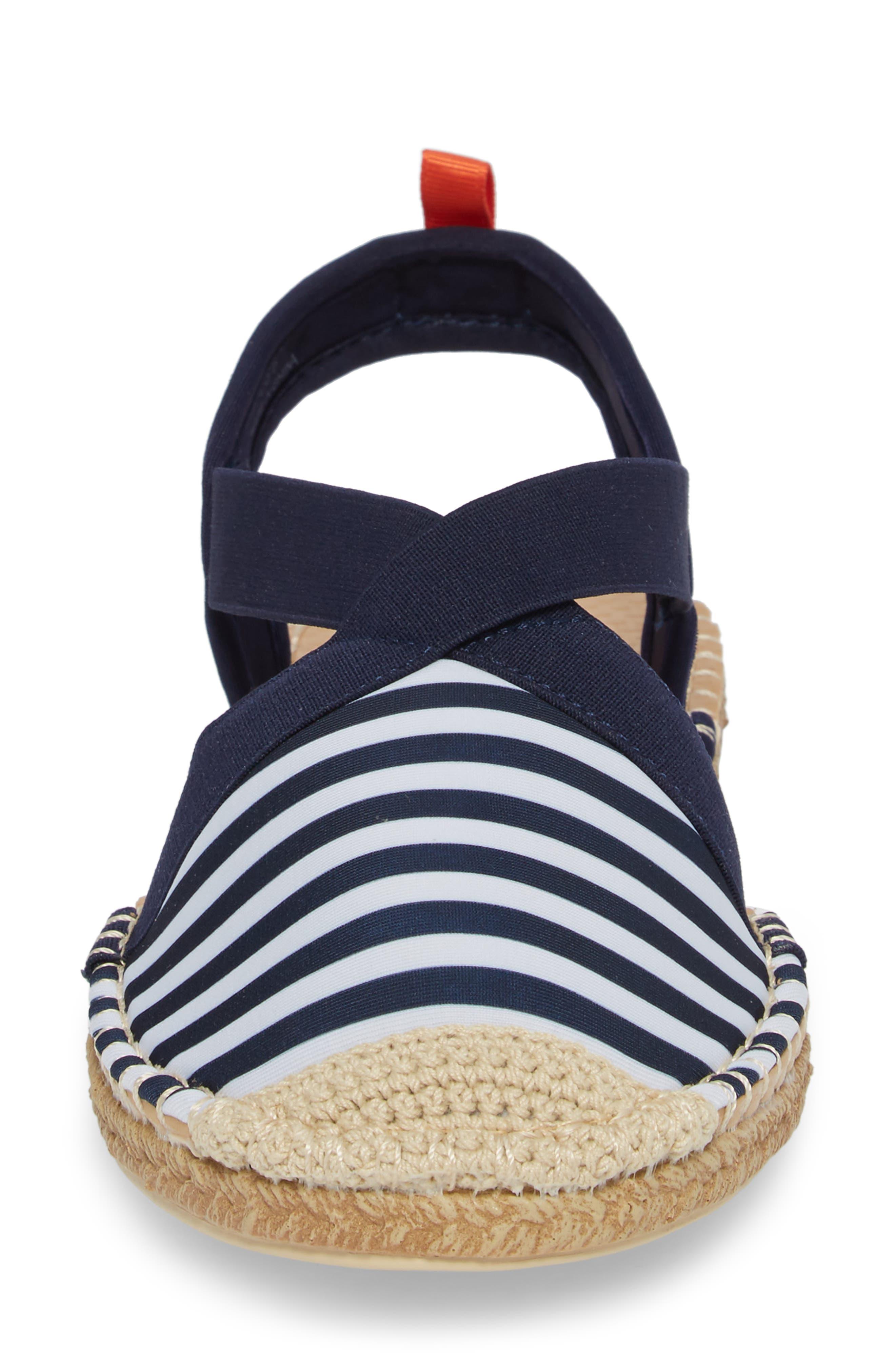 Sea Star Slingback Espadrille Water Shoe,                             Alternate thumbnail 4, color,                             Navy/ White Stripes