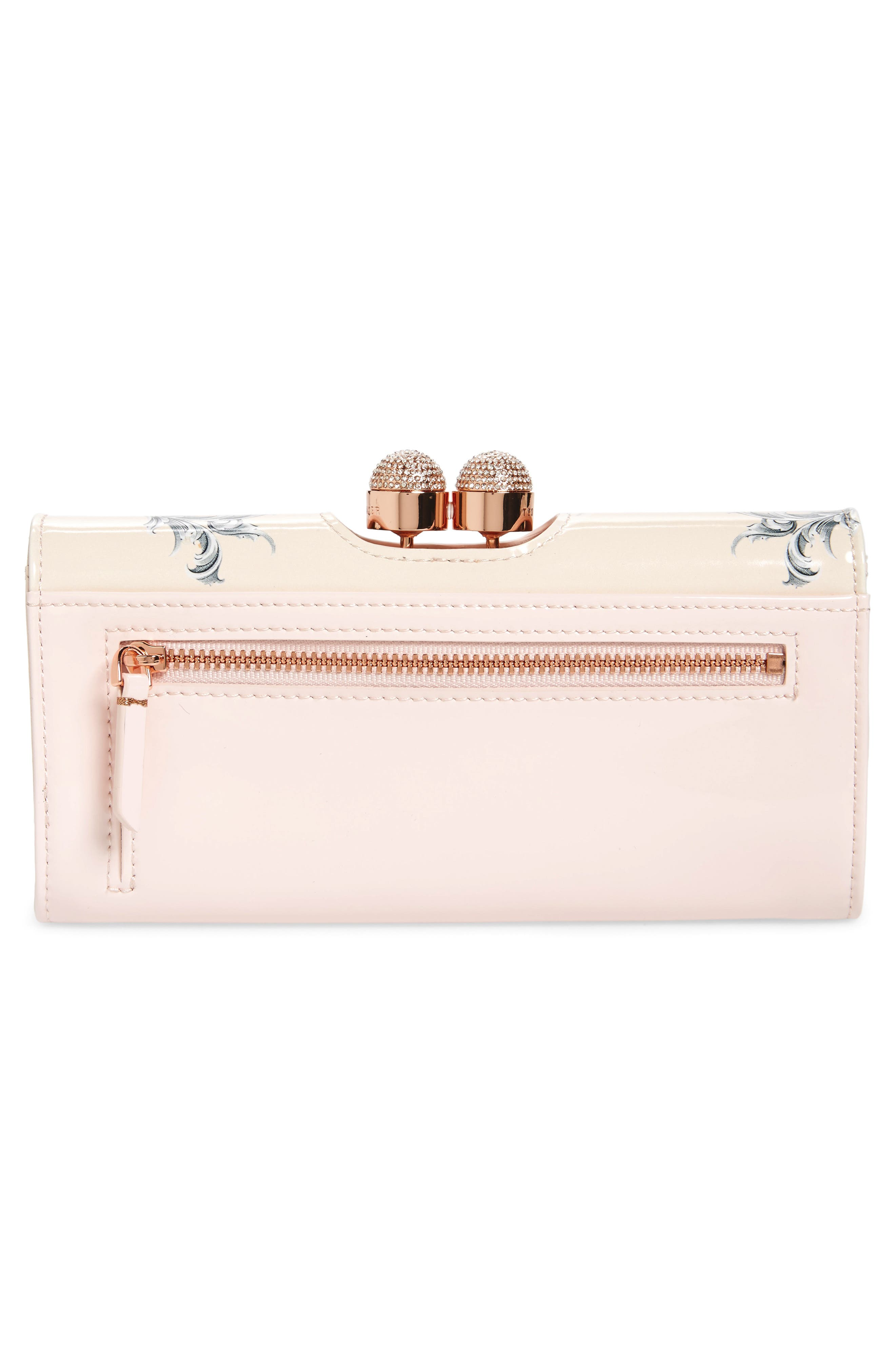 Maycie Enchant Leather Matinée Wallet,                             Alternate thumbnail 3, color,                             Pale Pink
