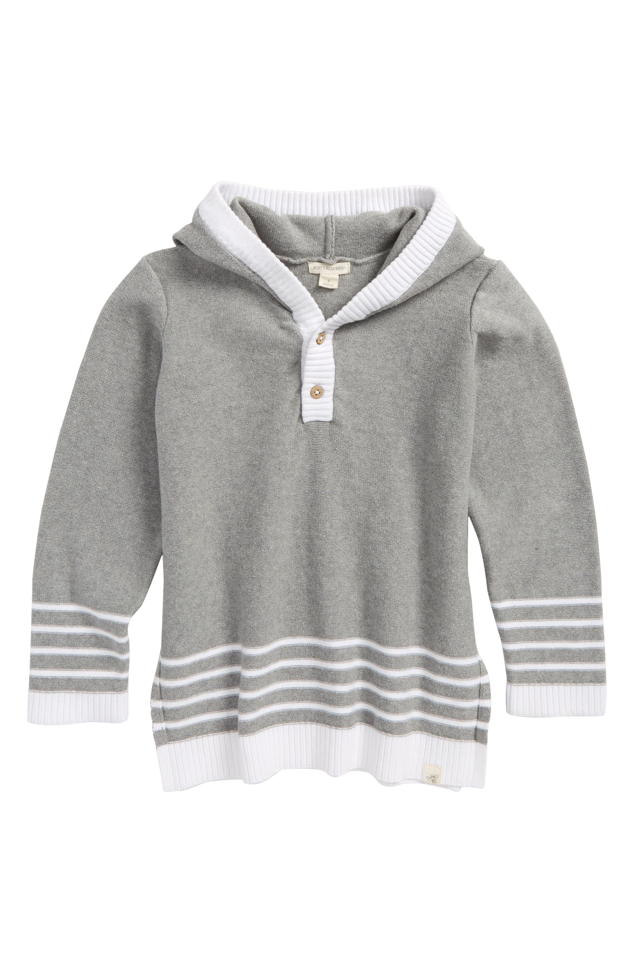 Main Image - Burt's Bees Baby Organic Cotton Knit Hoodie (Toddler Boys & Little Boys)