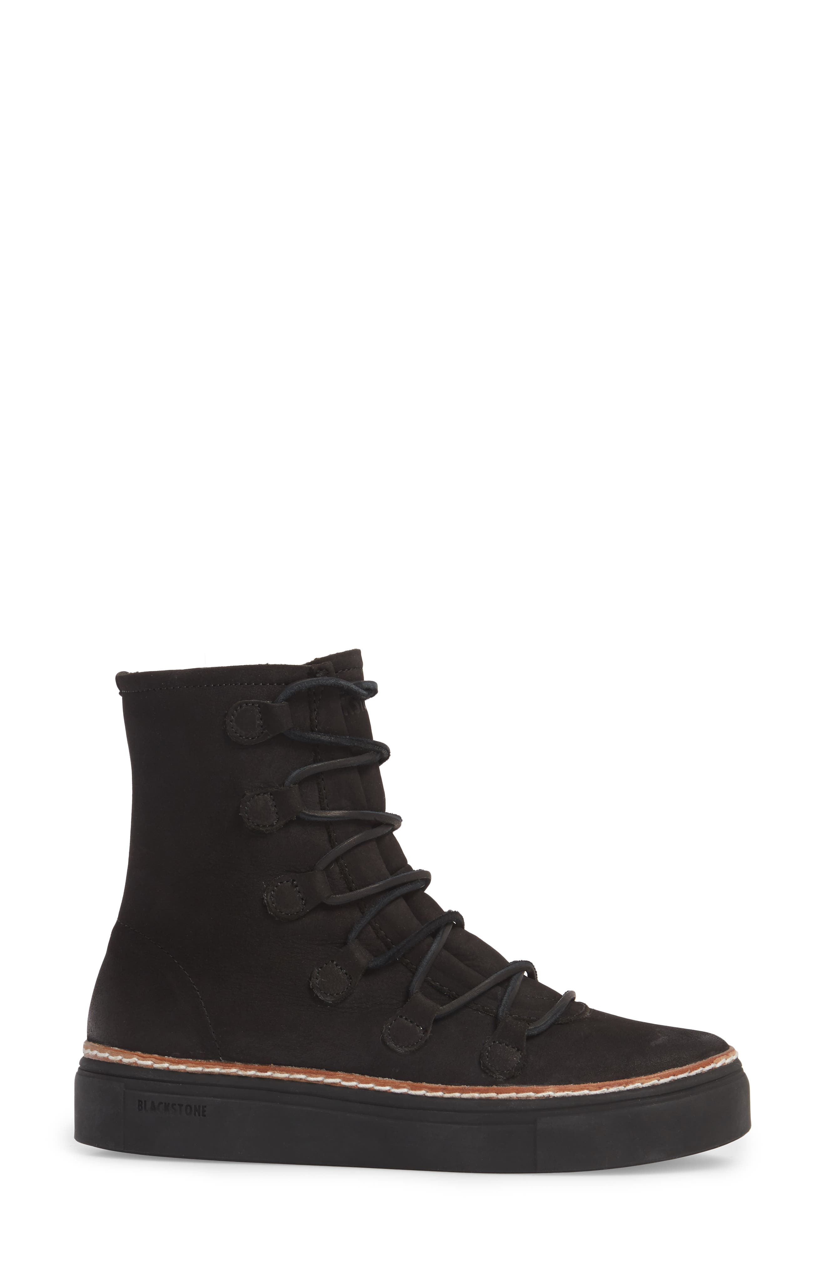 OL26 Genuine Shearling Lined Lace-Up Bootie,                             Alternate thumbnail 3, color,                             Black Nubuck Leather
