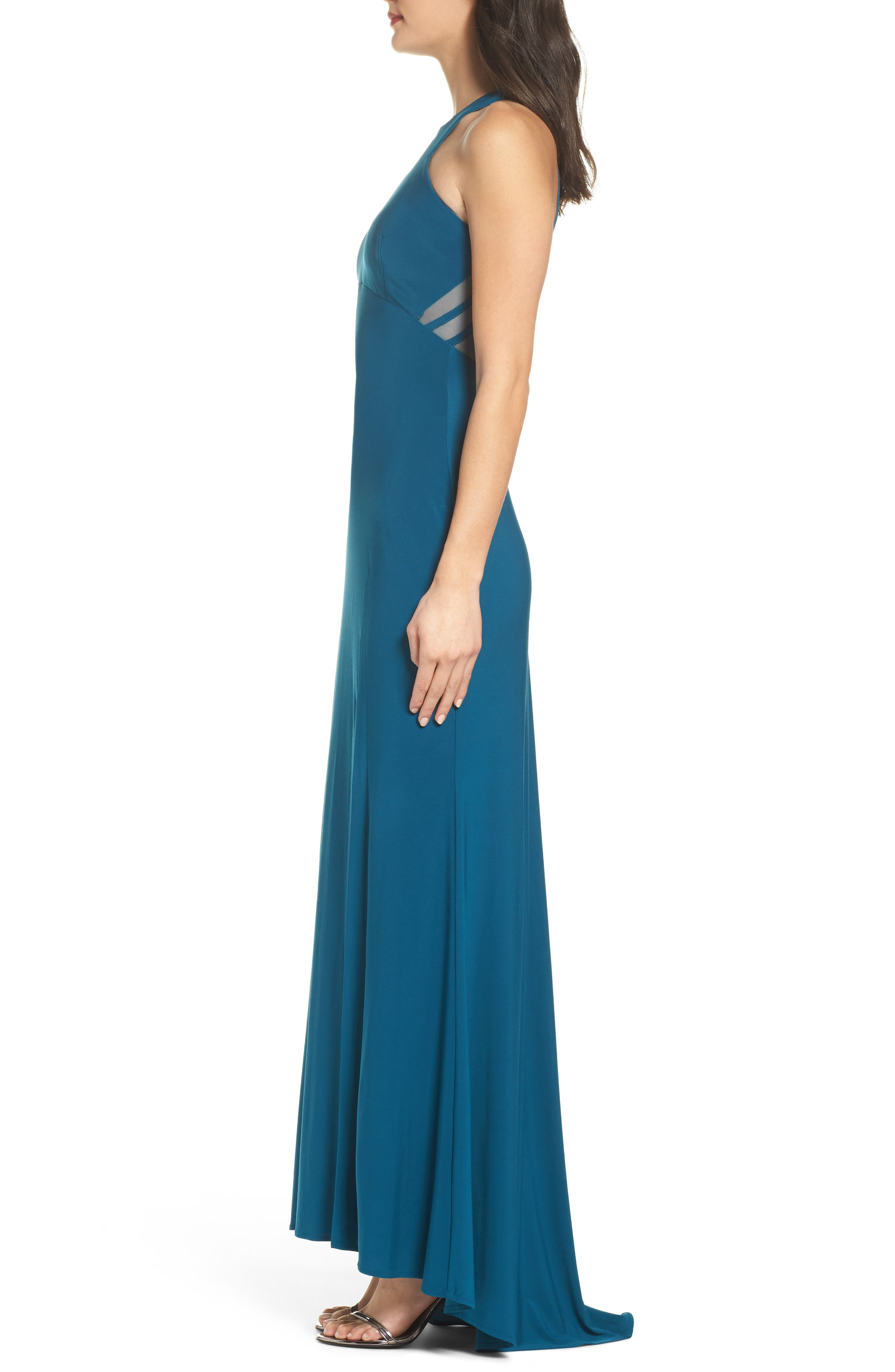 Mesh Inset Halter Gown,                             Alternate thumbnail 3, color,                             Spruce