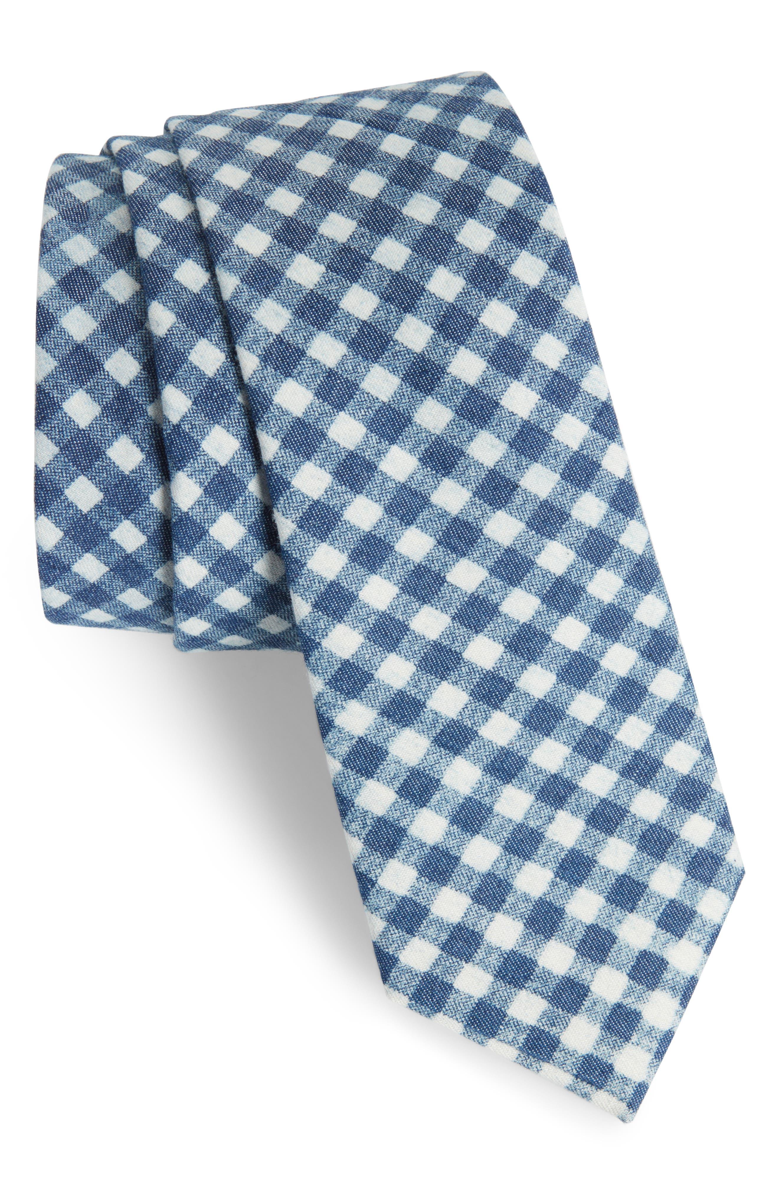 Freeman Check Cotton Skinny Tie,                             Main thumbnail 1, color,                             Navy