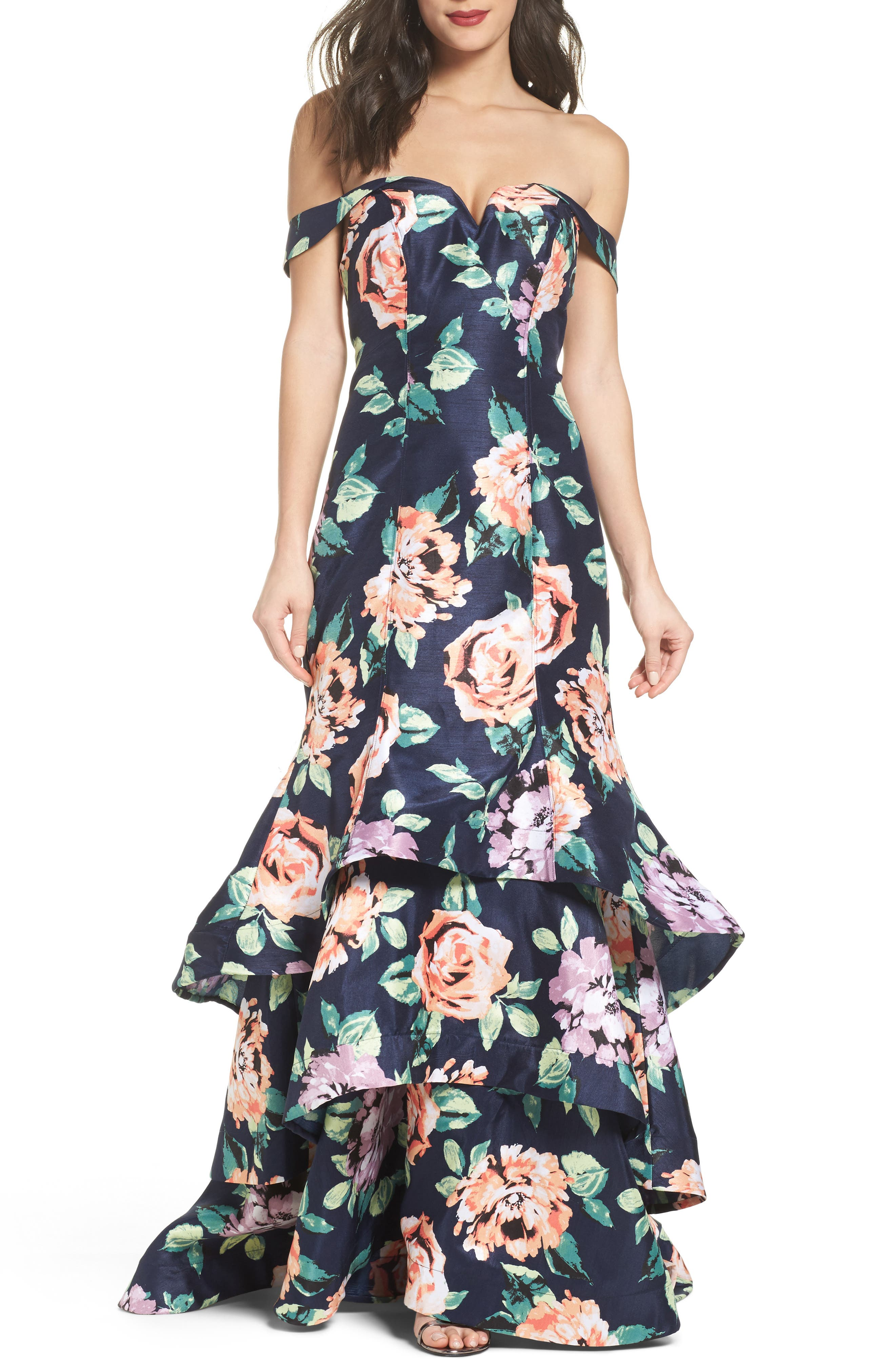 Print Shantung Off the Shoulder Gown,                         Main,                         color, Navy/ Peach