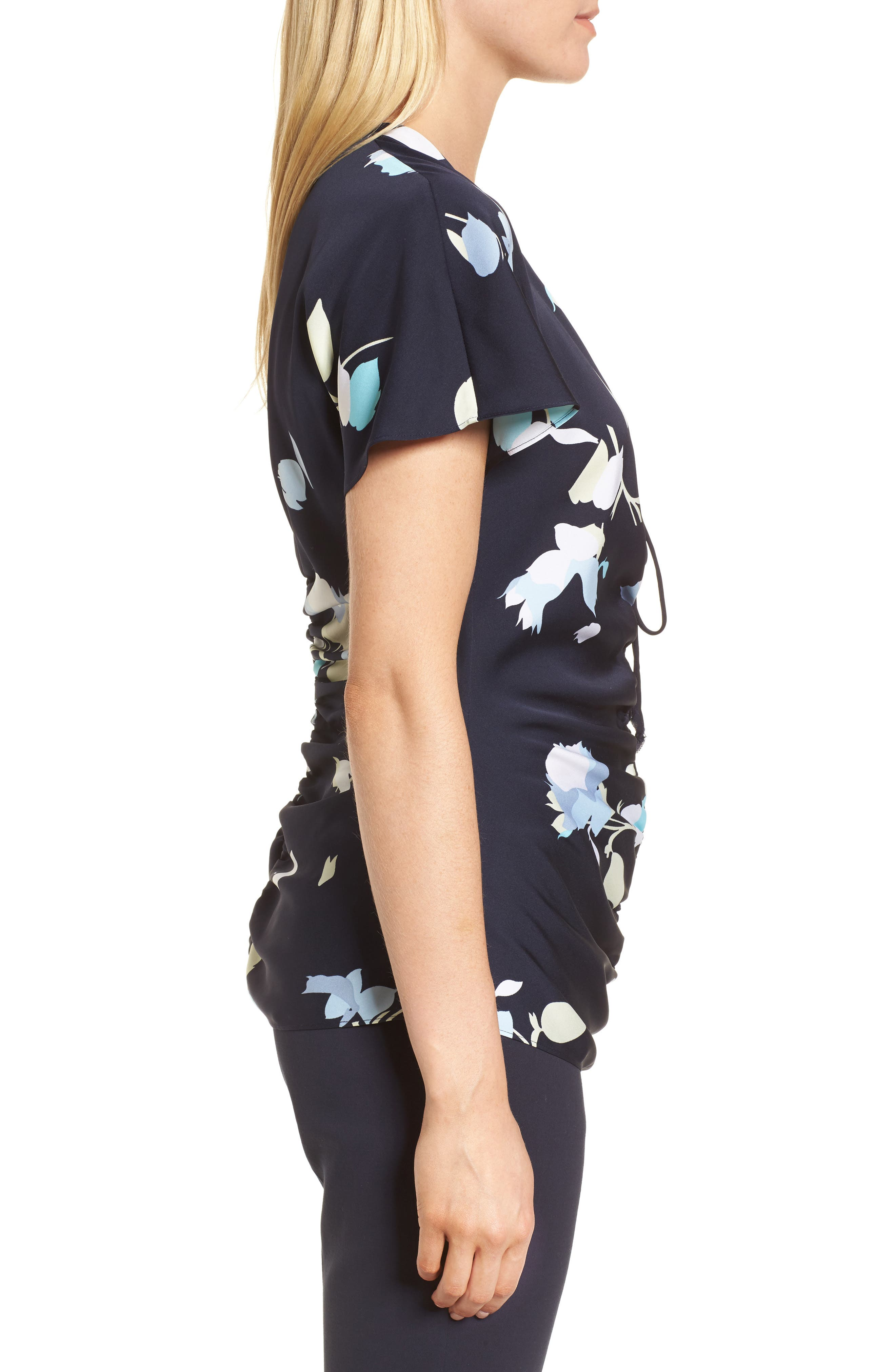 Ruched Floral Stretch Silk Top,                             Alternate thumbnail 3, color,                             Navy Night Decoupage Floral