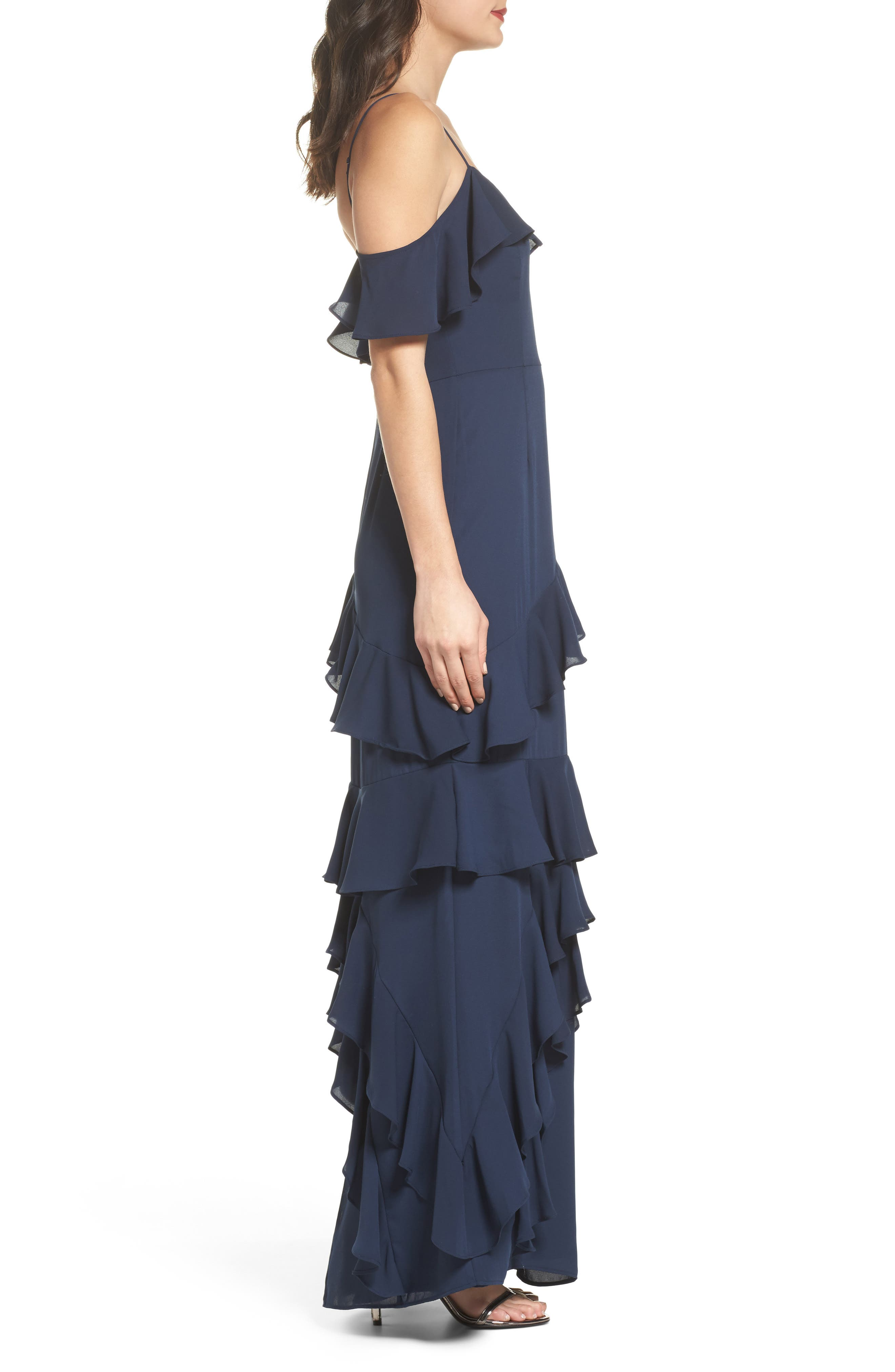 Danielle Off the Shoulder Tiered Crepe Dress,                             Alternate thumbnail 3, color,                             Navy