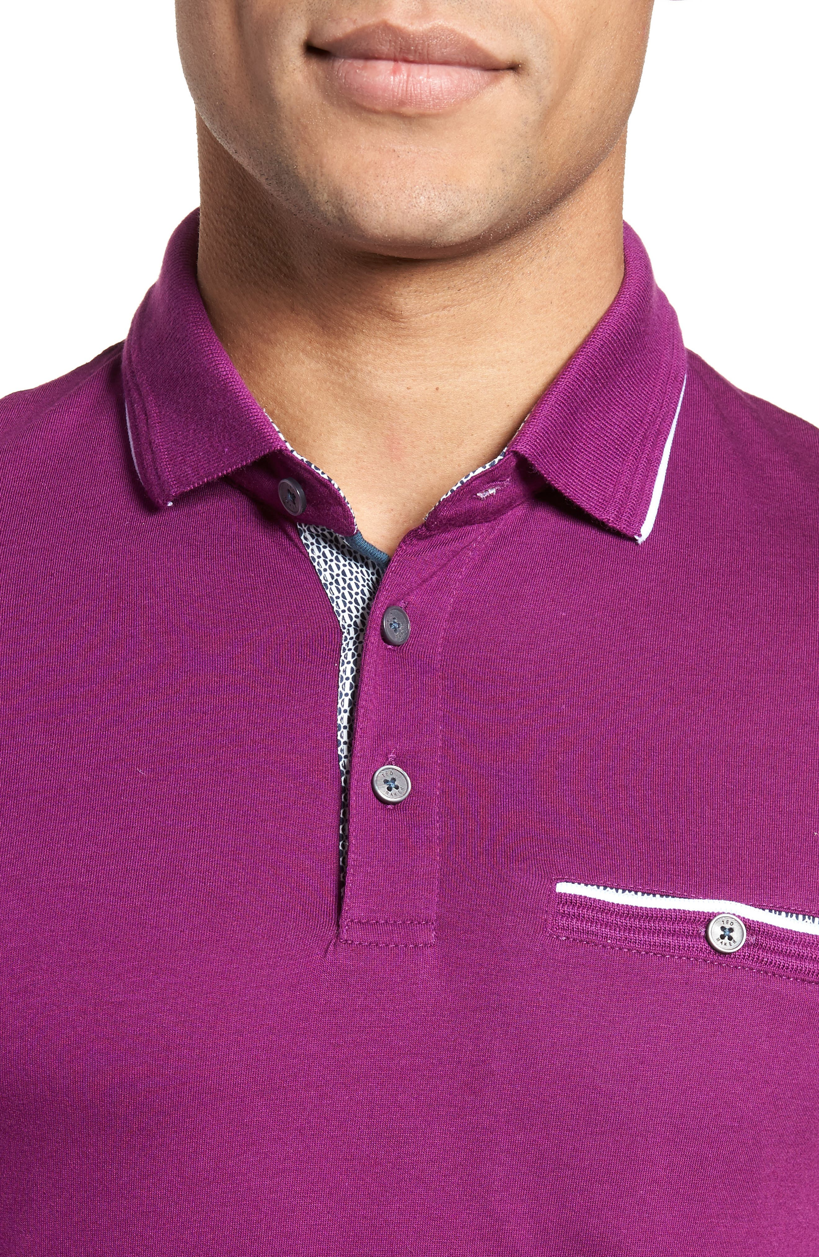 Derry Modern Slim Fit Polo,                             Alternate thumbnail 4, color,                             Deep Purple