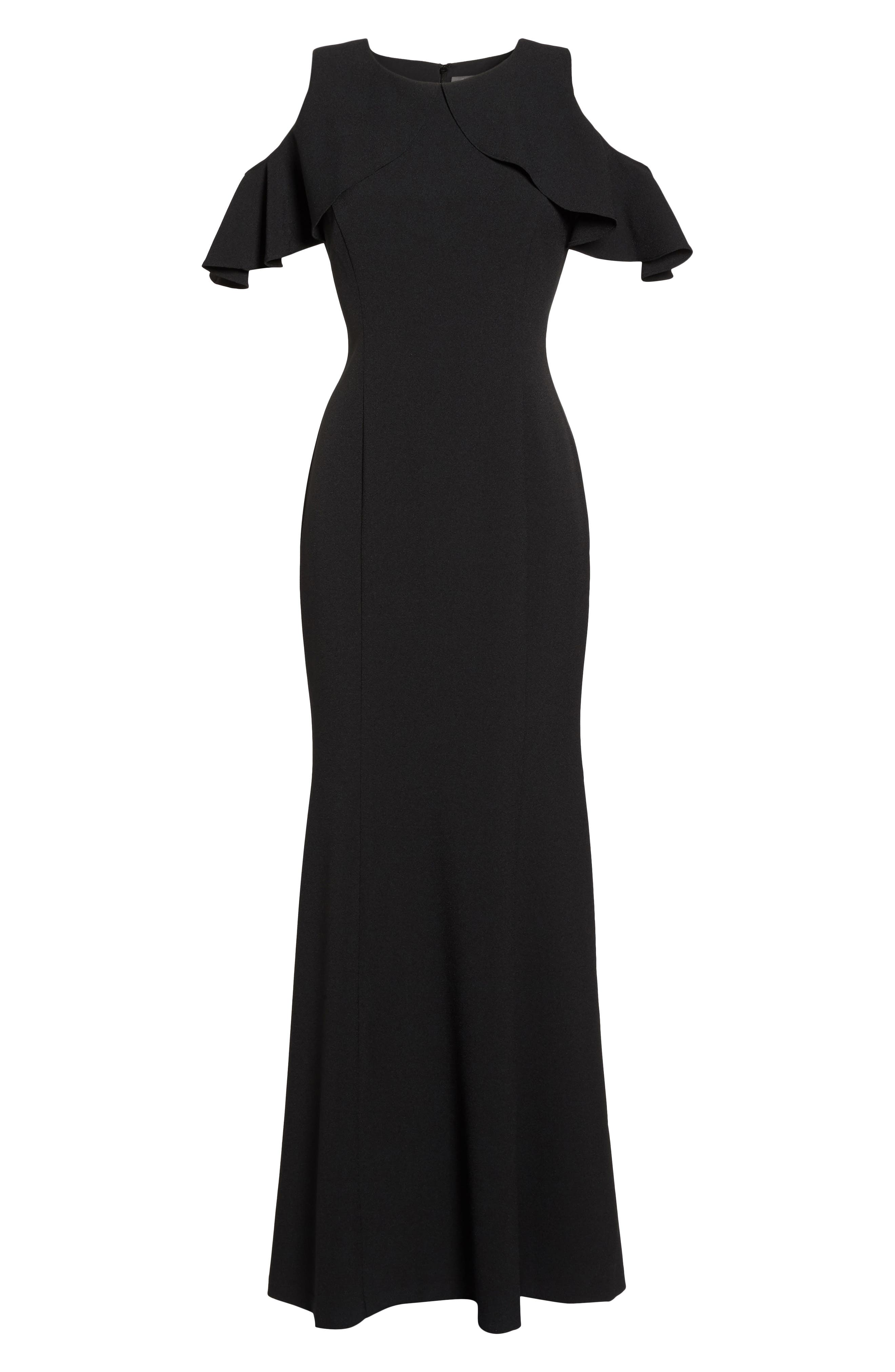 Ruffle Cold Shoulder Crepe Gown,                             Alternate thumbnail 6, color,                             Black