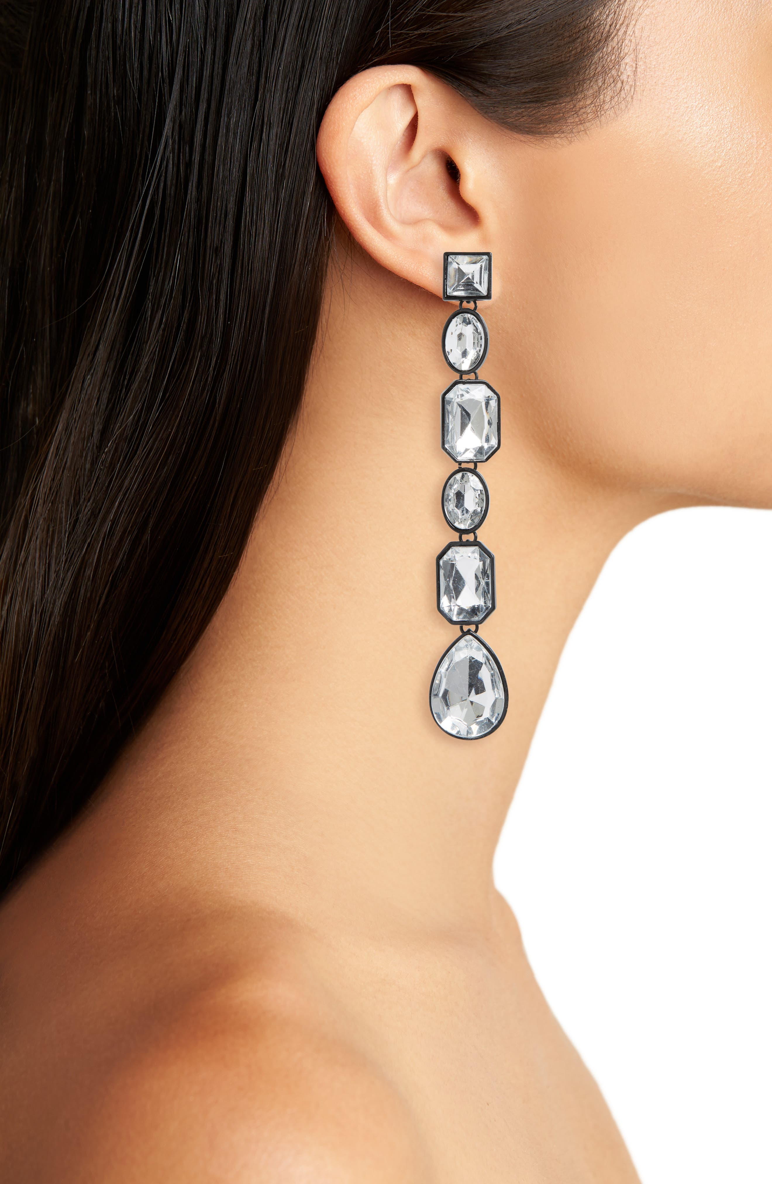 Geo Crystal Drop Earrings,                             Alternate thumbnail 2, color,                             Black/ Clear